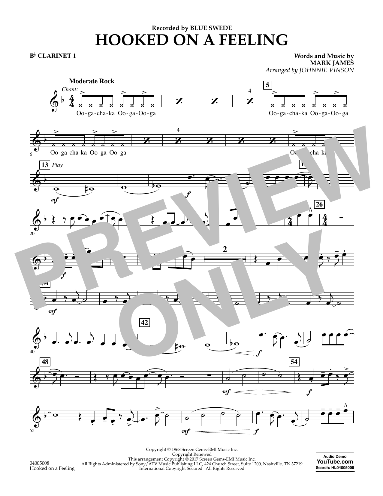 Hooked on a Feeling - Bb Clarinet 1 Partition Digitale
