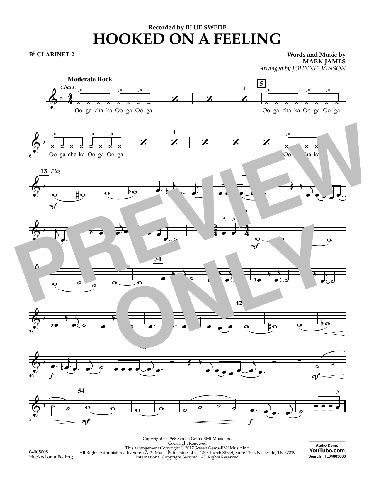 Hooked on a Feeling - Bb Clarinet 2 Partition Digitale
