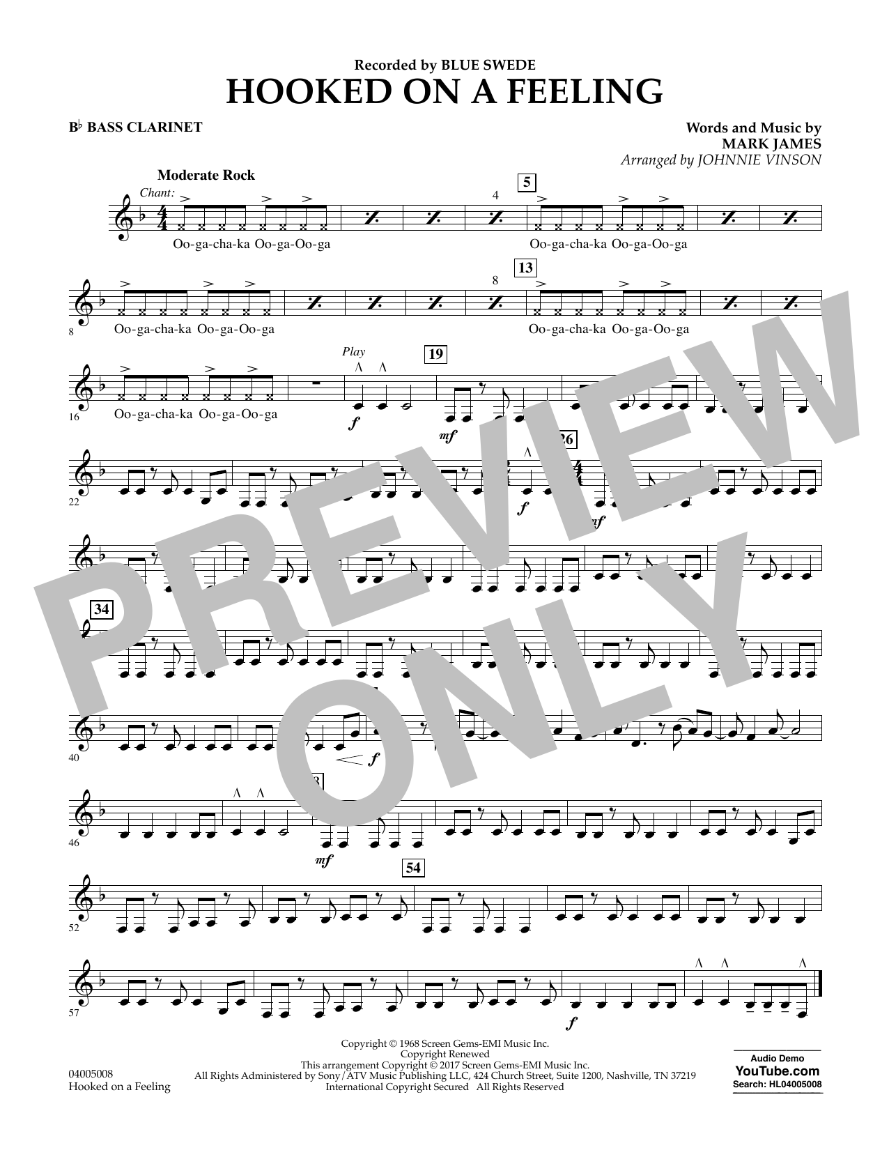 Hooked on a Feeling - Bb Bass Clarinet Partition Digitale