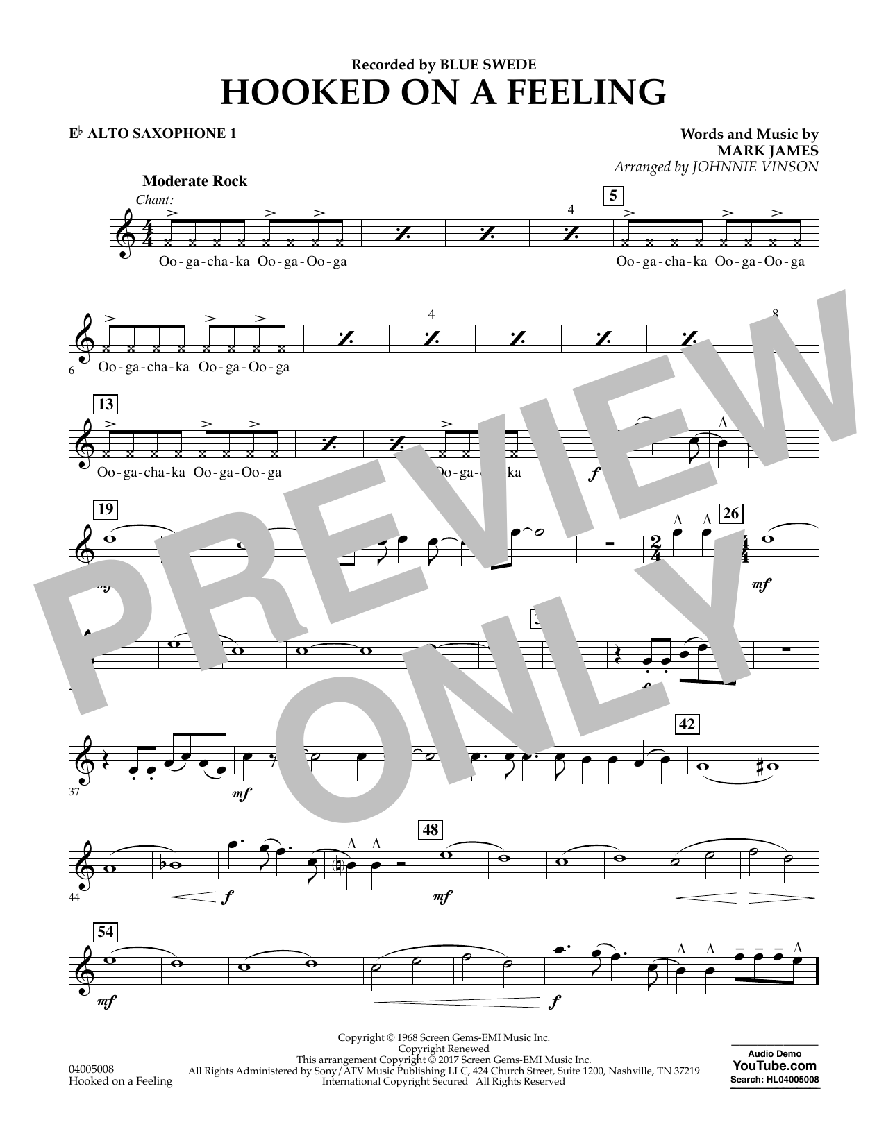 Hooked on a Feeling - Eb Alto Saxophone 1 Sheet Music