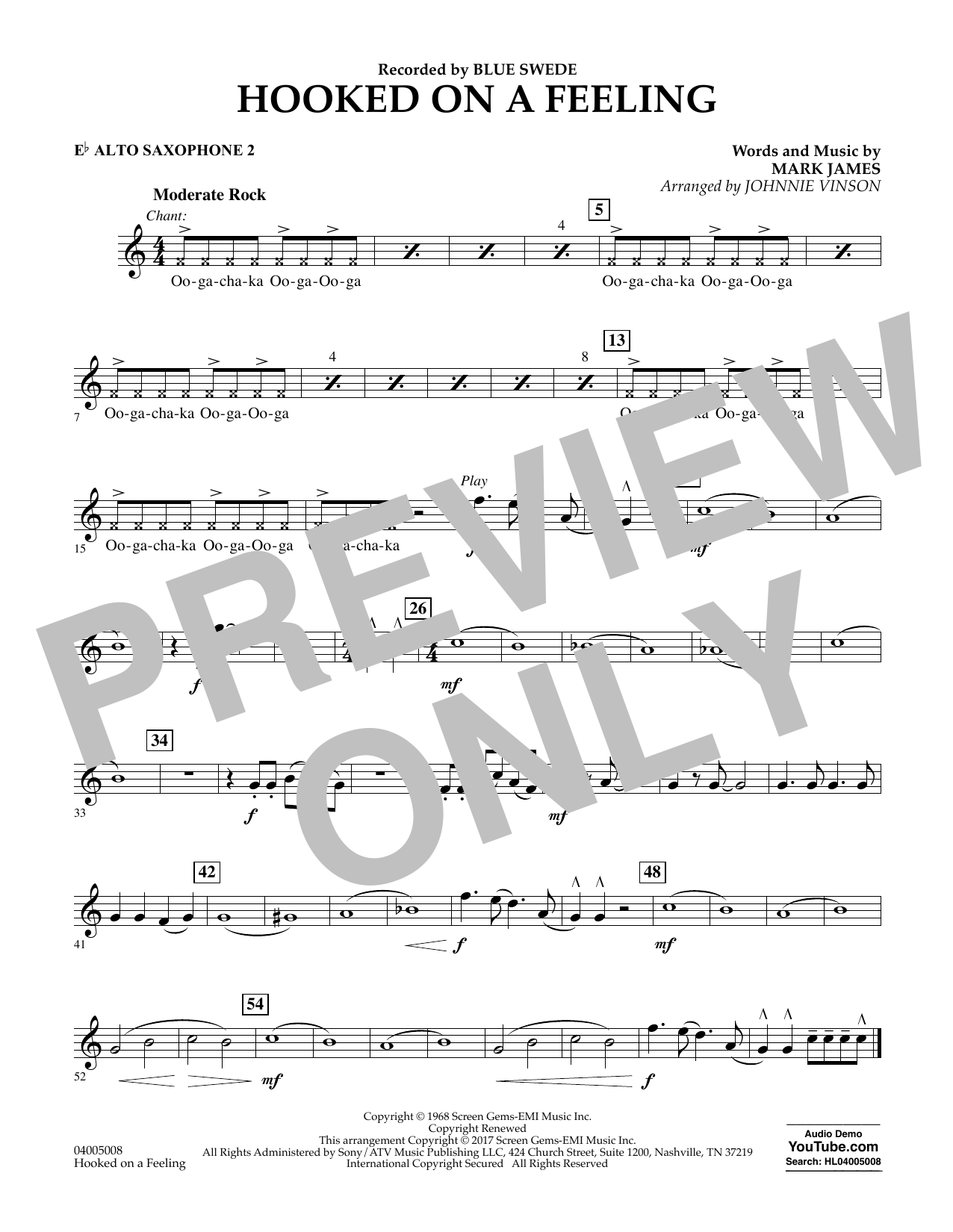 Hooked on a Feeling - Eb Alto Saxophone 2 Sheet Music