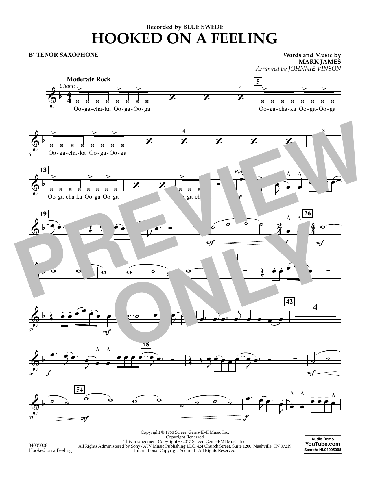 Hooked on a Feeling - Bb Tenor Saxophone Partition Digitale
