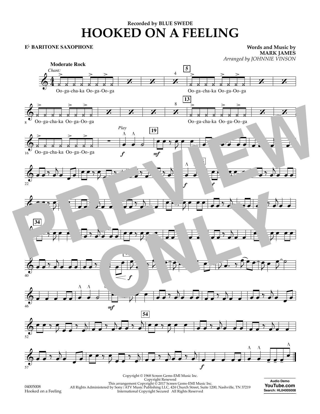 Hooked on a Feeling - Eb Baritone Saxophone Sheet Music