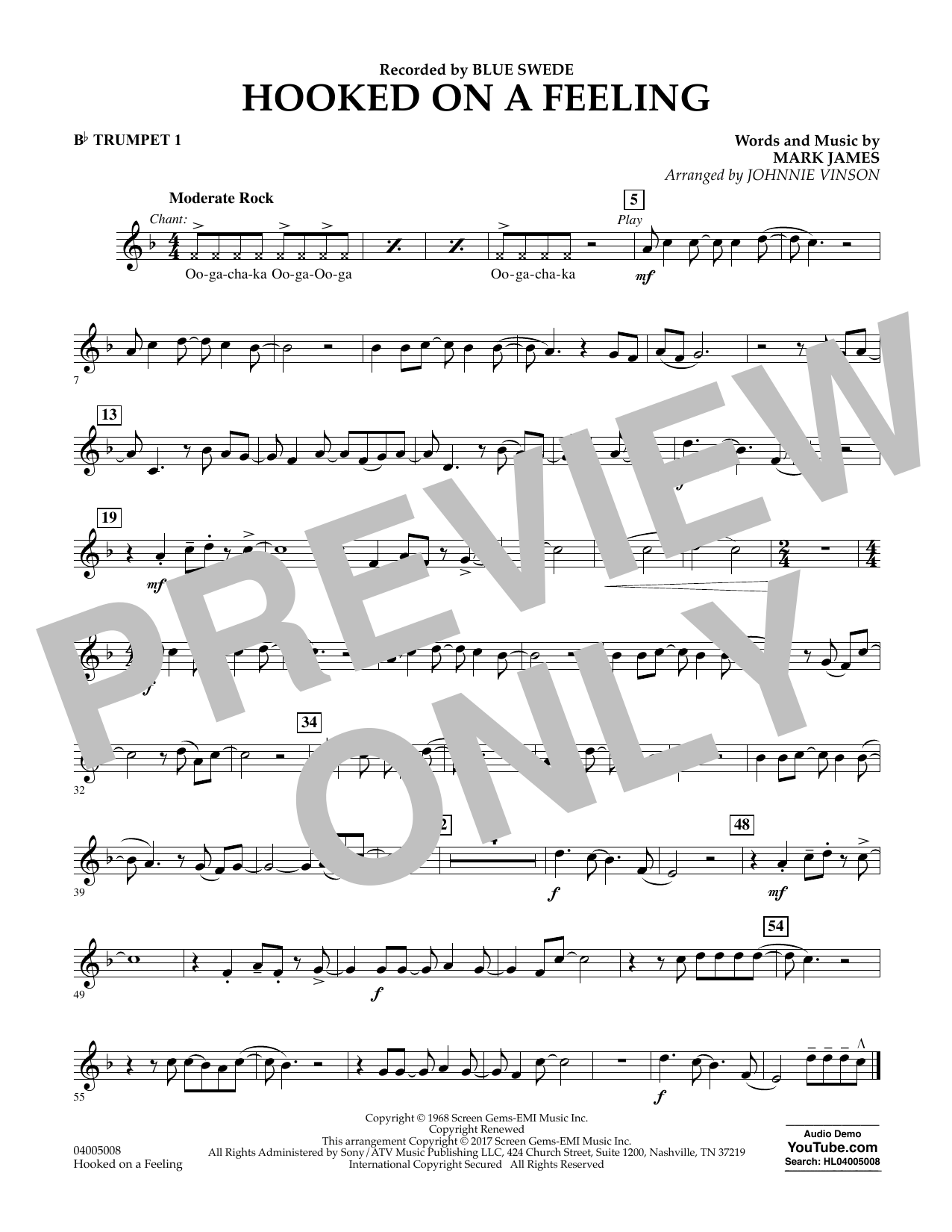 Hooked on a Feeling - Bb Trumpet 1 Sheet Music