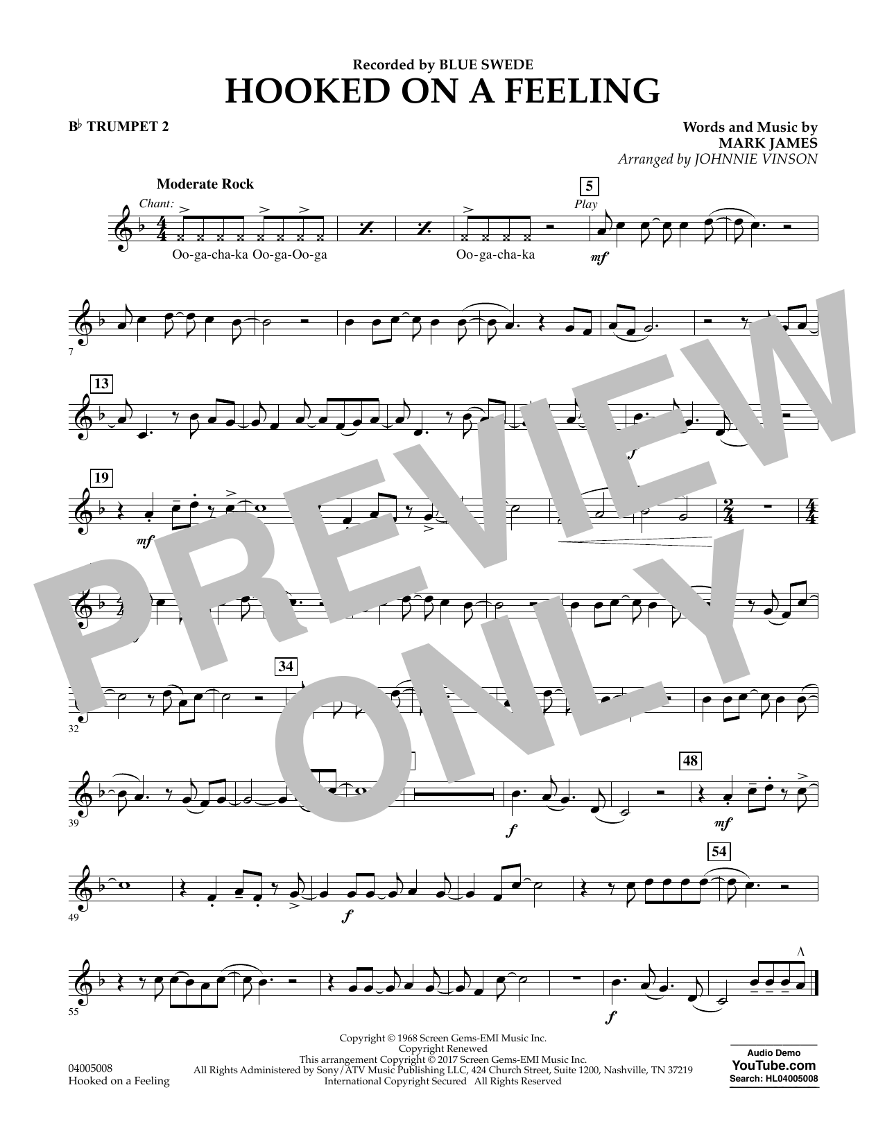 Hooked on a Feeling - Bb Trumpet 2 Sheet Music