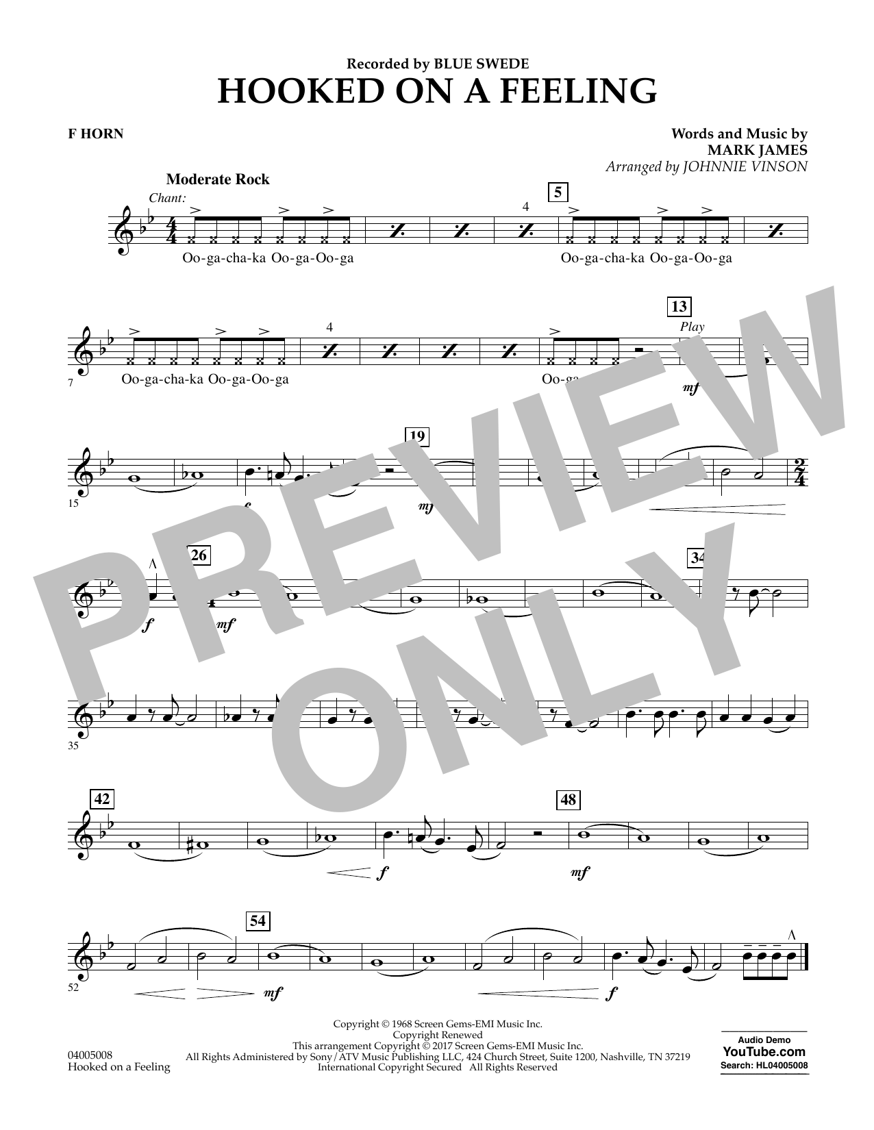 Hooked on a Feeling - F Horn Sheet Music