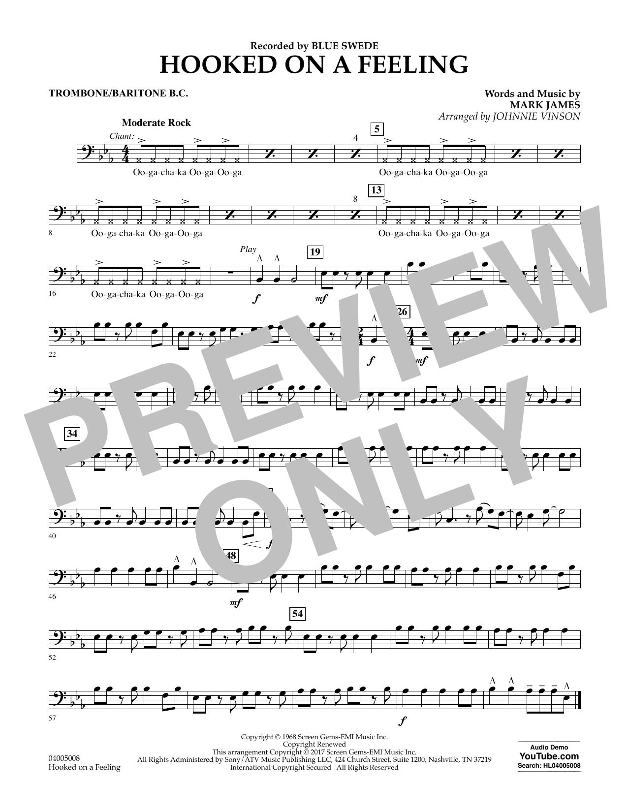 Hooked on a Feeling - Trombone/Baritone B.C. Partition Digitale