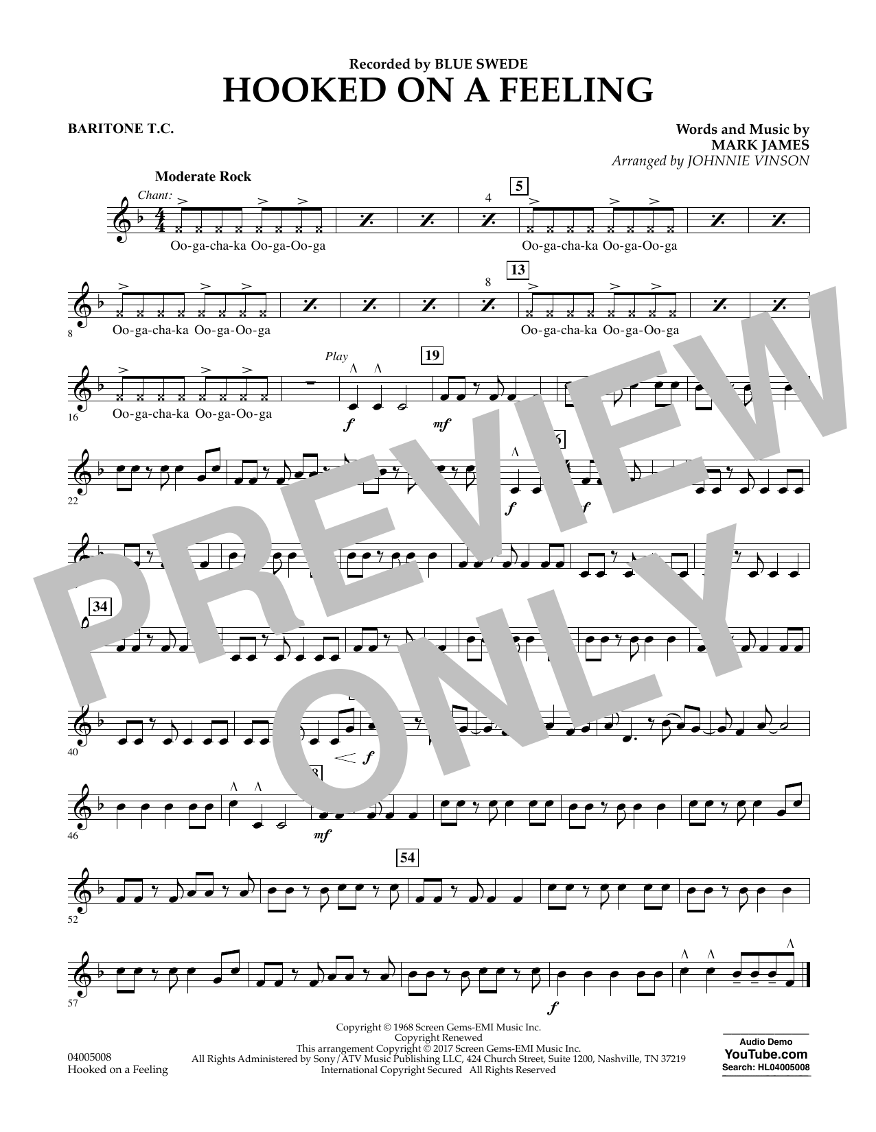 Hooked on a Feeling - Baritone T.C. Sheet Music