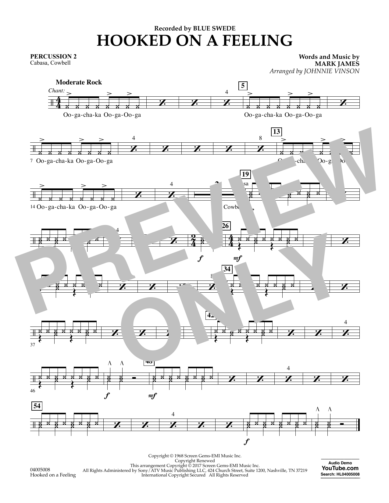 Hooked on a Feeling - Percussion 2 Sheet Music