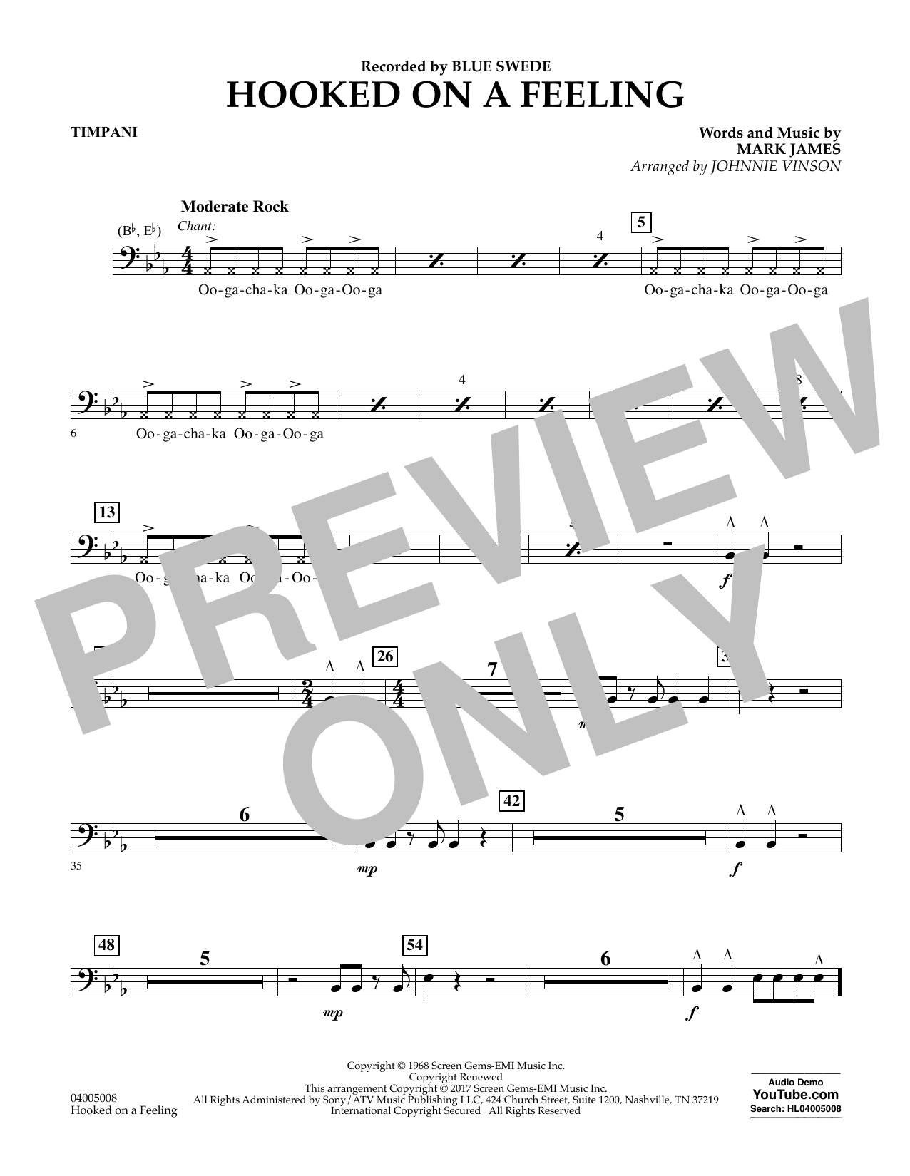 Hooked on a Feeling - Timpani Sheet Music