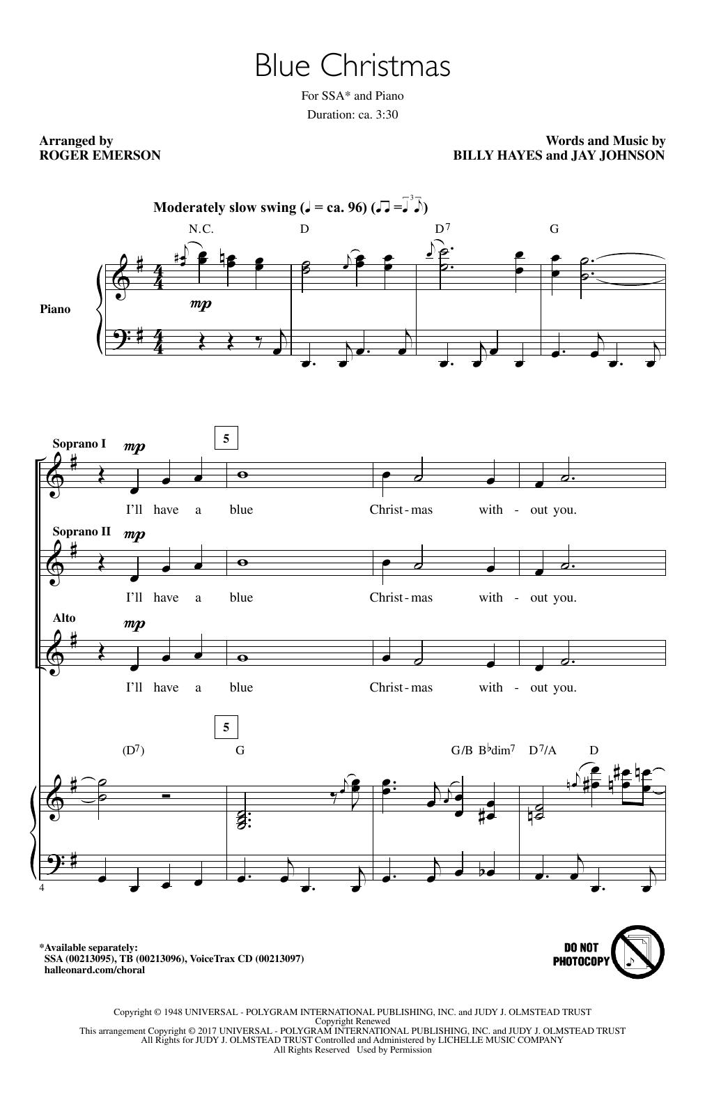 Partition chorale Blue Christmas de Elvis Presley - SSA