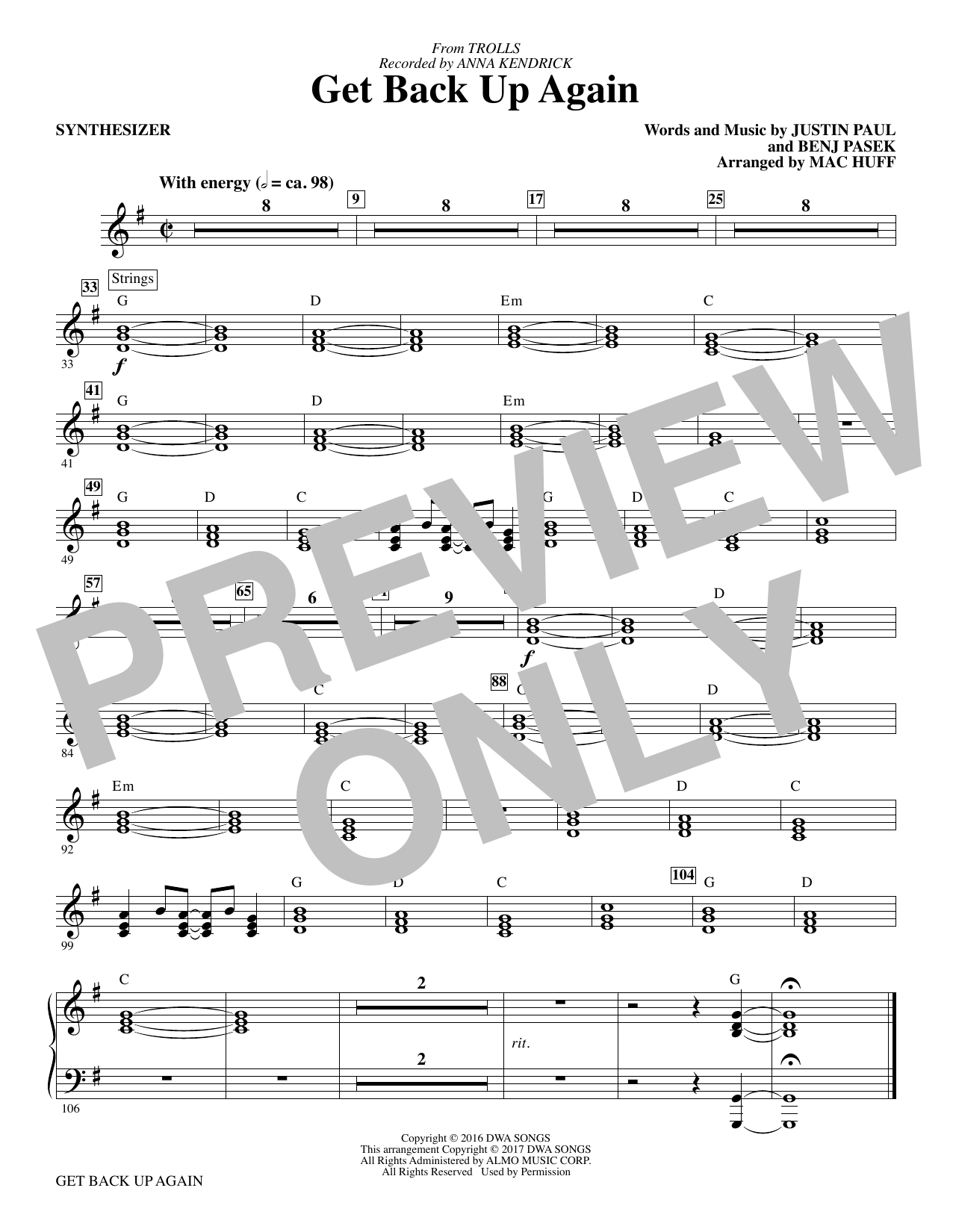 Get Back Up Again (complete set of parts) sheet music for orchestra/band by Mac Huff, Anna Kendrick, Benj Pasek and Justin Paul. Score Image Preview.
