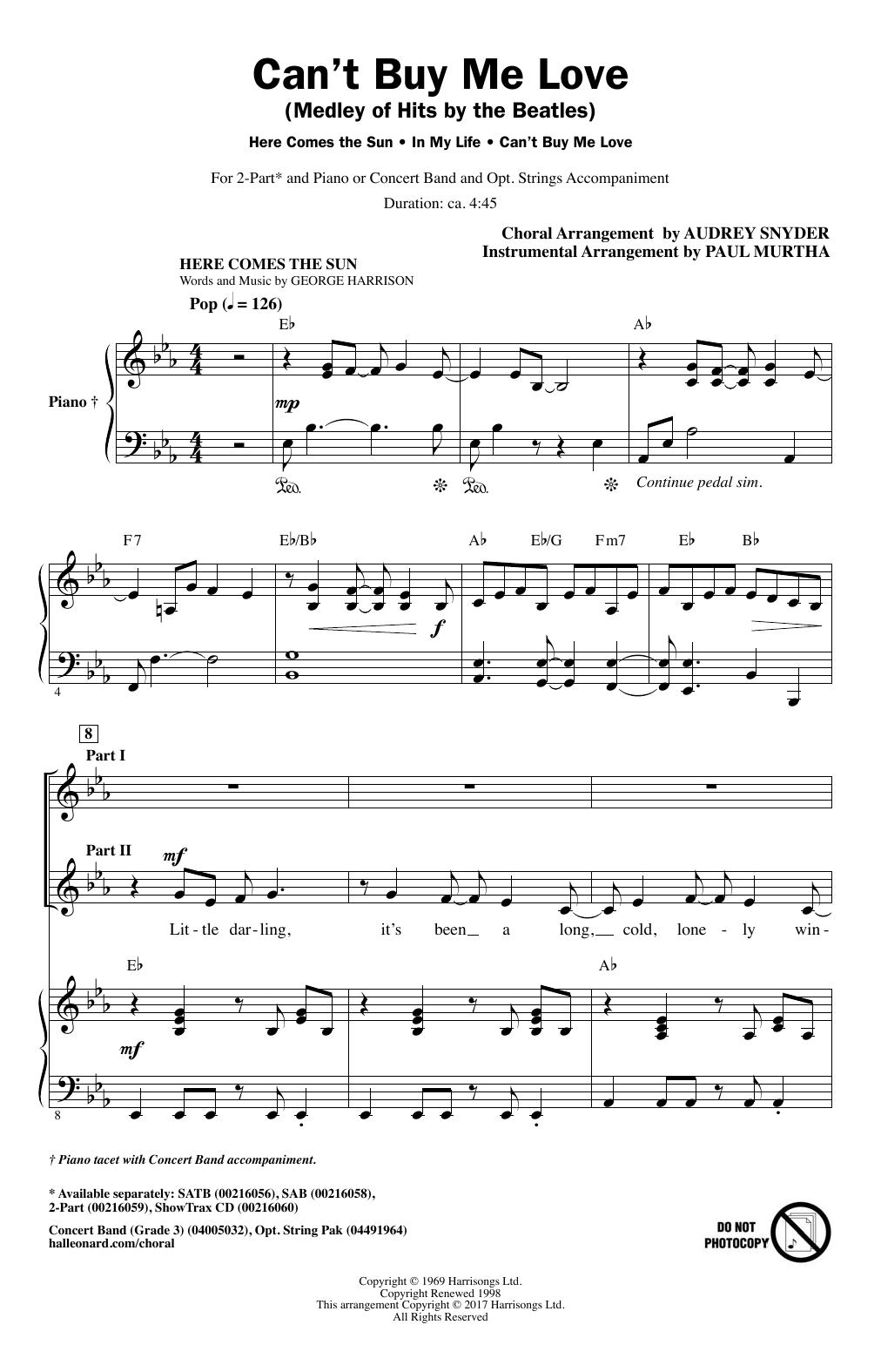 Can't Buy Me Love (Medley of Hits by The Beatles) (arr. Audrey Snyder) Sheet Music