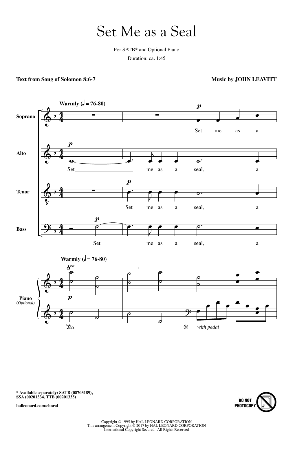 Set Me As A Seal Sheet Music