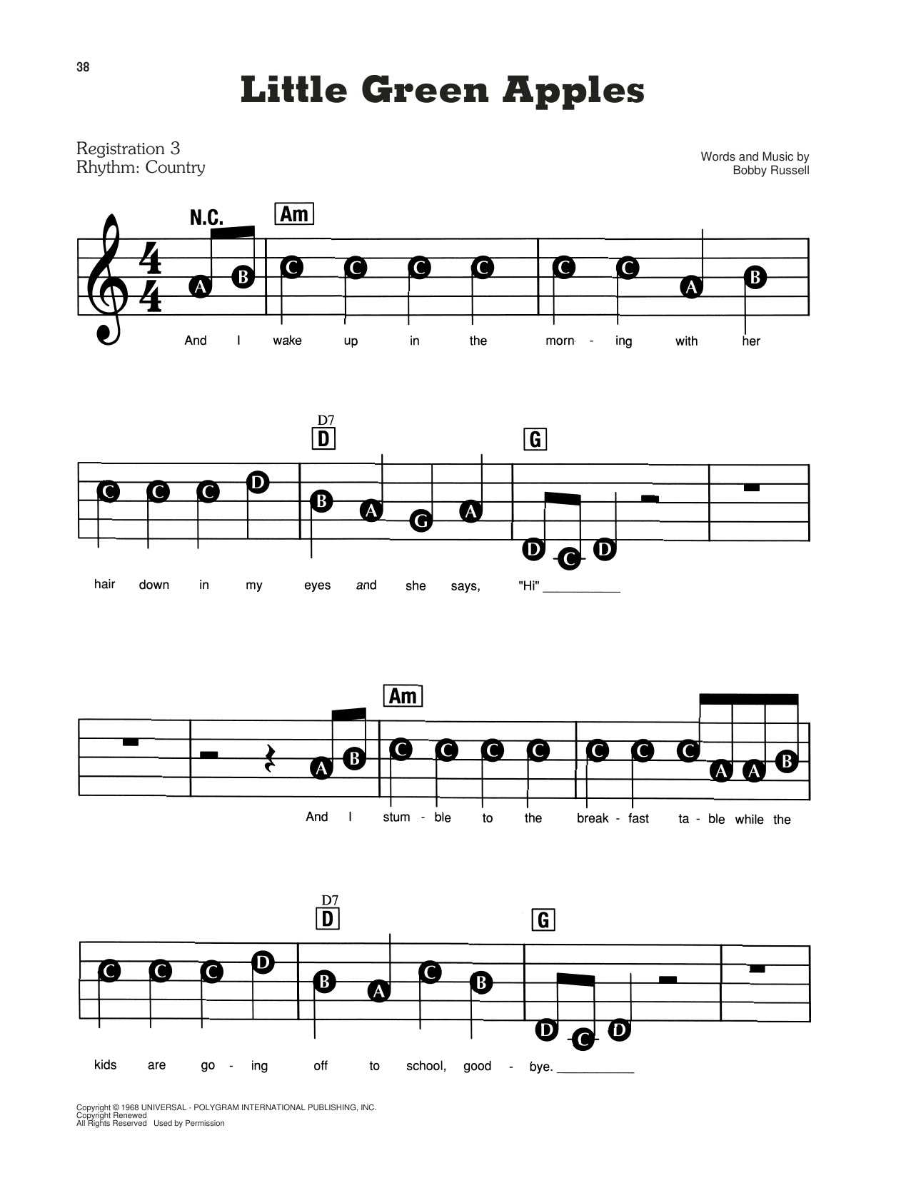Little Green Apples Sheet Music