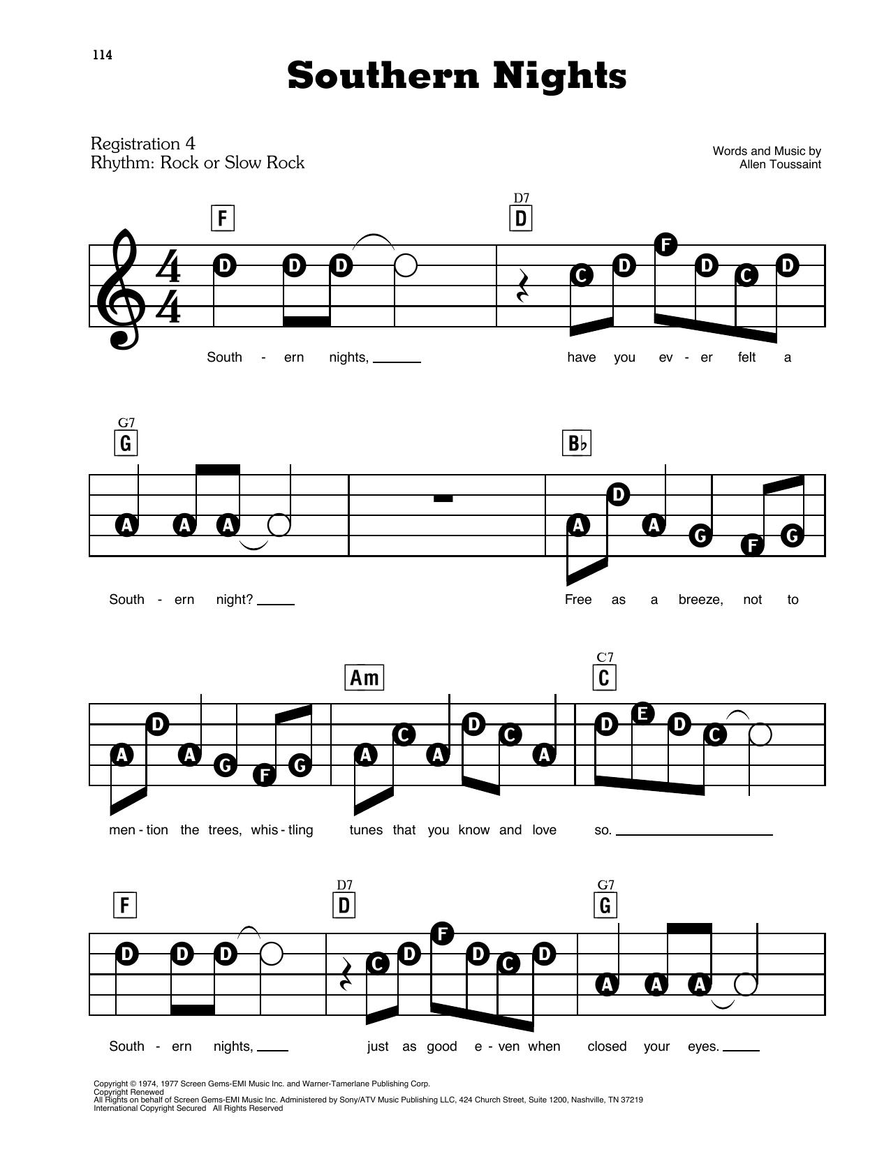 Southern Nights Sheet Music