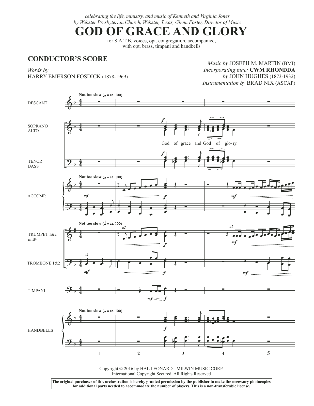 God of Grace and Glory (COMPLETE) sheet music for orchestra/band by Joseph M. Martin and Harry Emerson Fosdick. Score Image Preview.