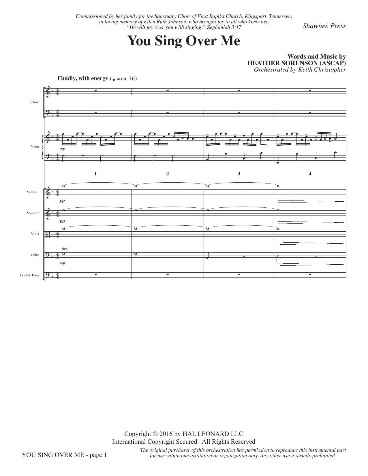 You Sing Over Me (COMPLETE) sheet music for orchestra/band by Heather Sorenson. Score Image Preview.