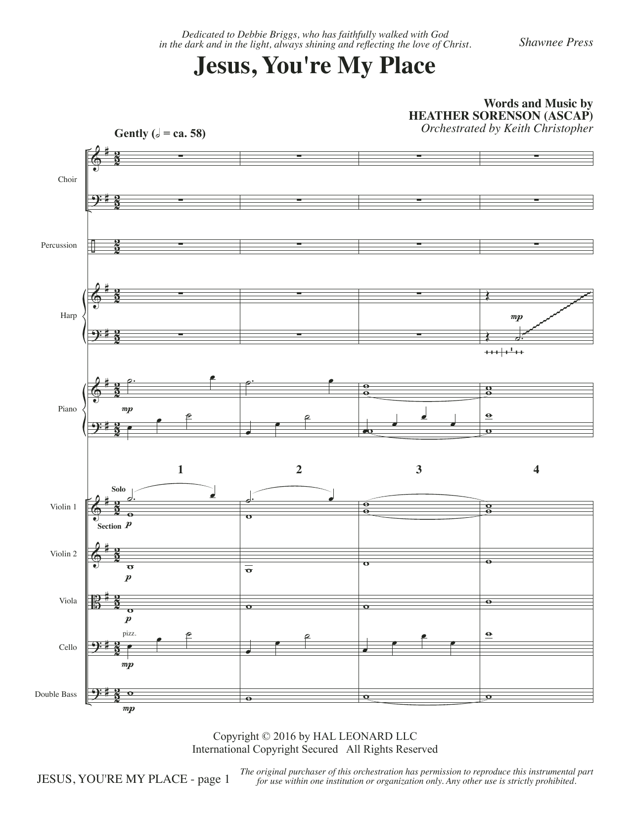 Jesus, You're My Place (COMPLETE) sheet music for orchestra/band by Heather Sorenson. Score Image Preview.