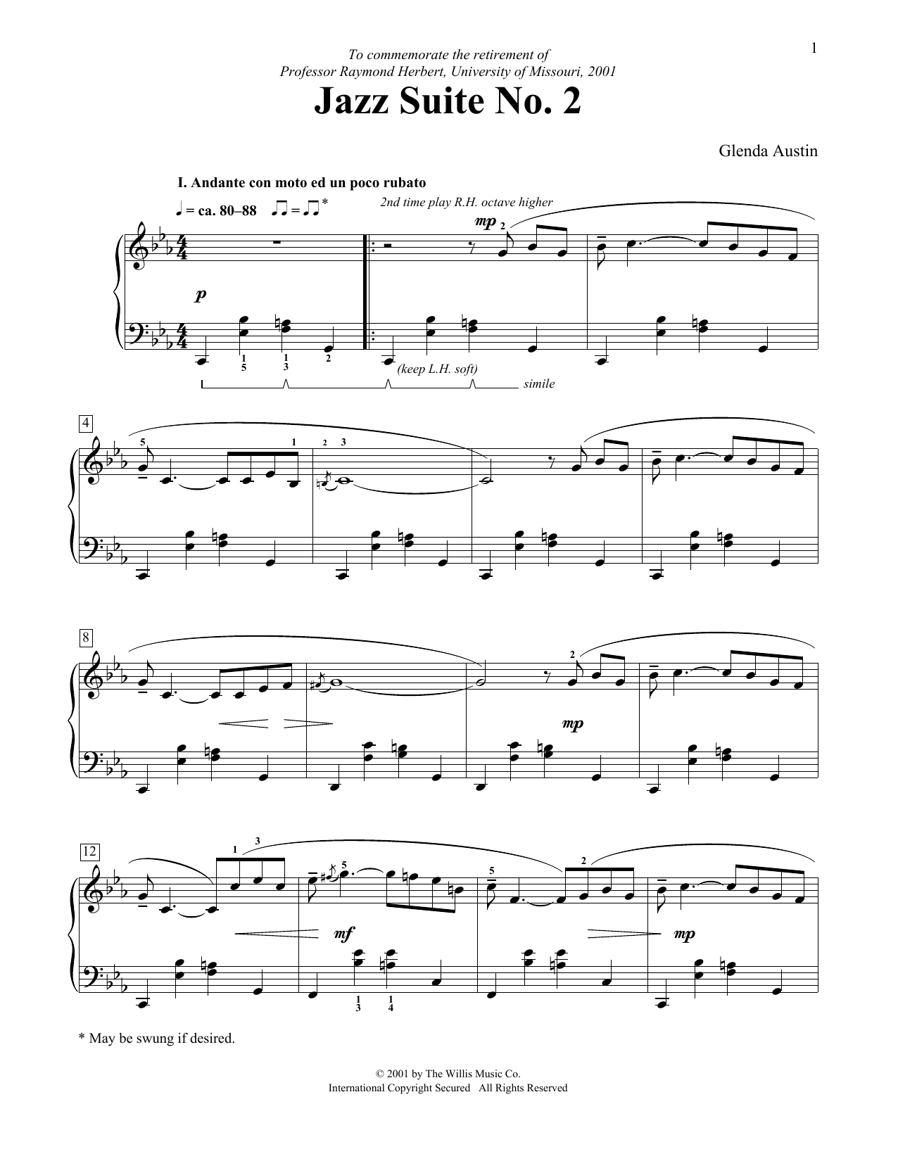 Jazz Suite No  2 by Glenda Austin Educational Piano Digital Sheet Music