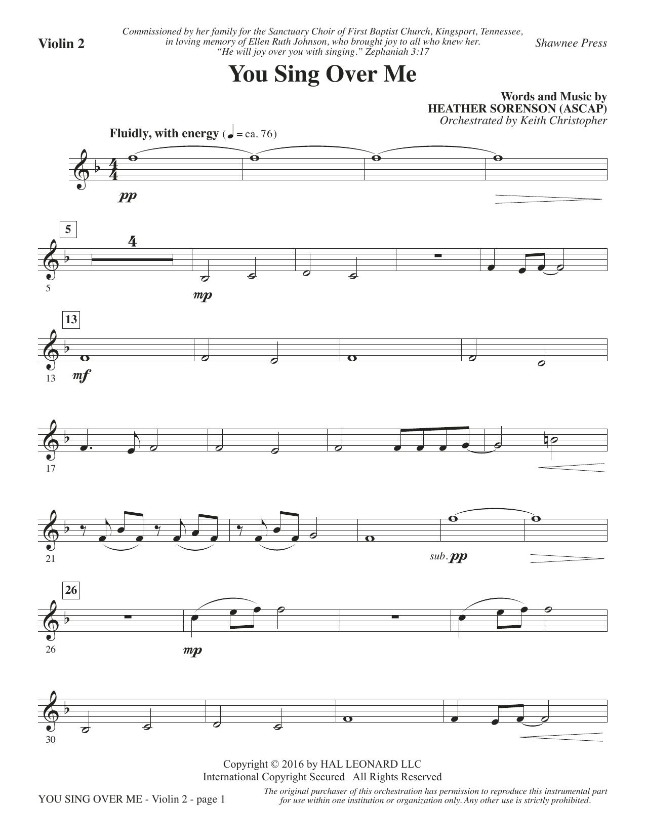 You Sing Over Me - Violin 2 (Choir Instrumental Pak)