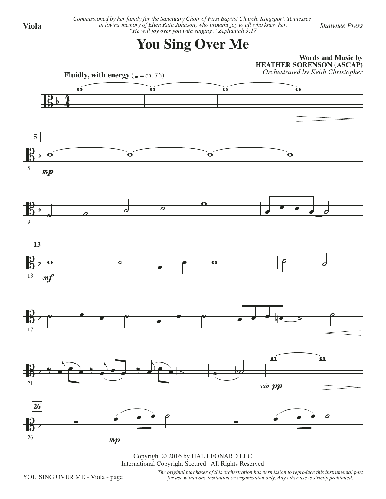 You Sing Over Me - Viola Sheet Music