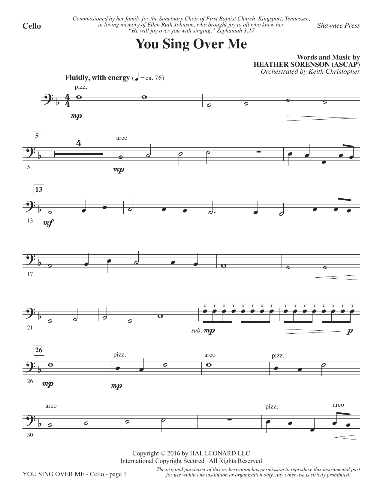 You Sing Over Me - Cello Sheet Music