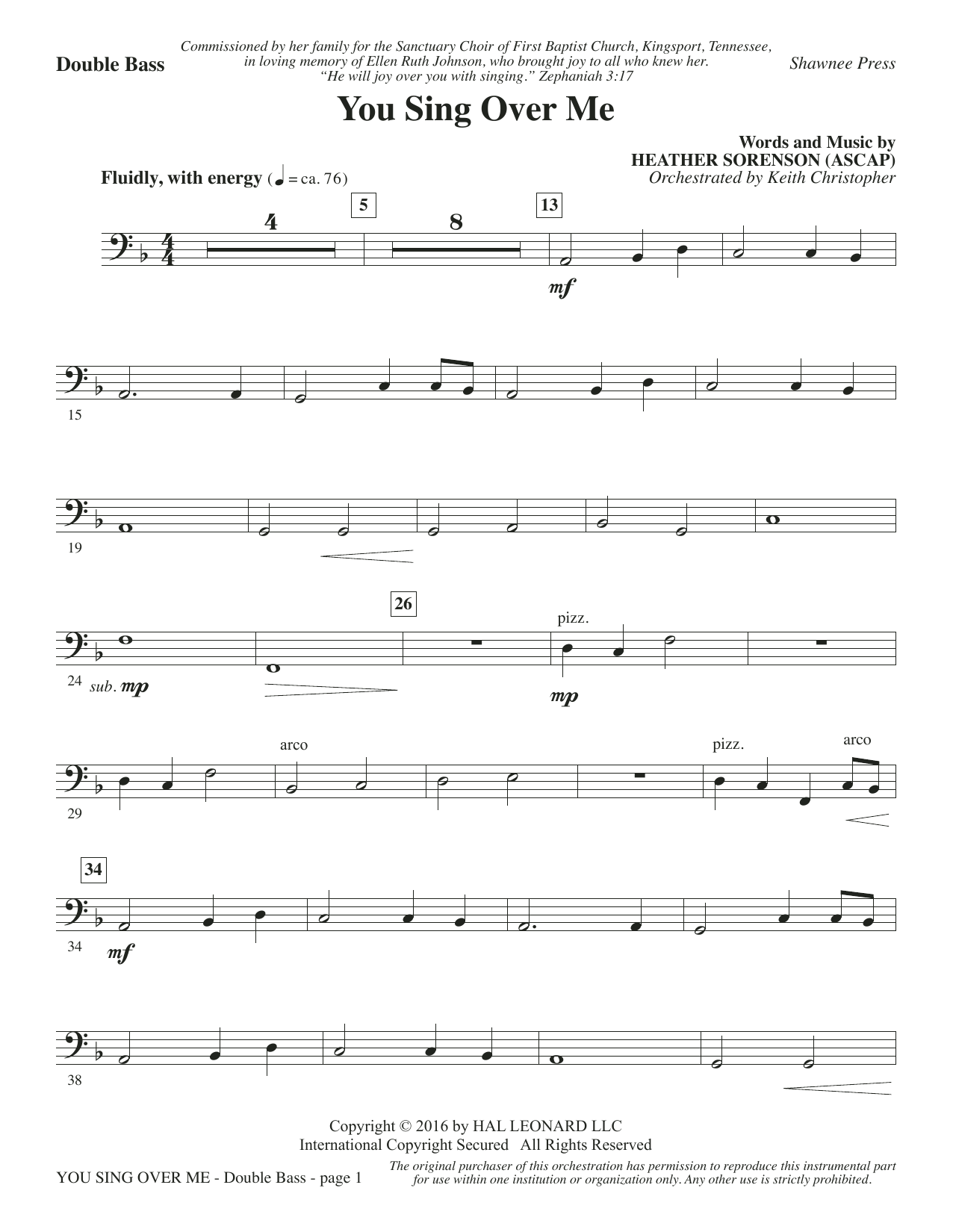 You Sing Over Me - Double Bass Sheet Music