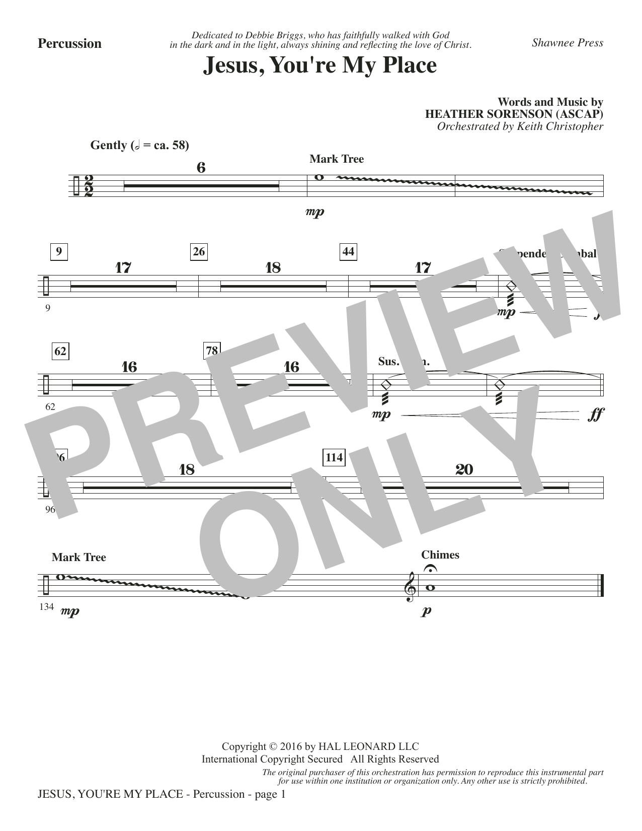 Jesus, You're My Place - Percussion Sheet Music