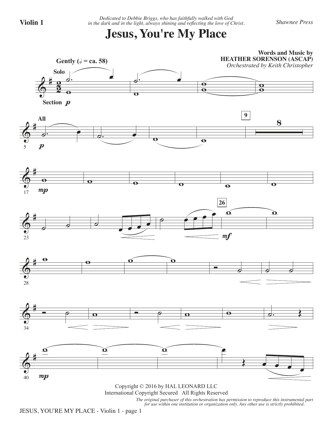 Jesus, You're My Place - Violin 1 Sheet Music