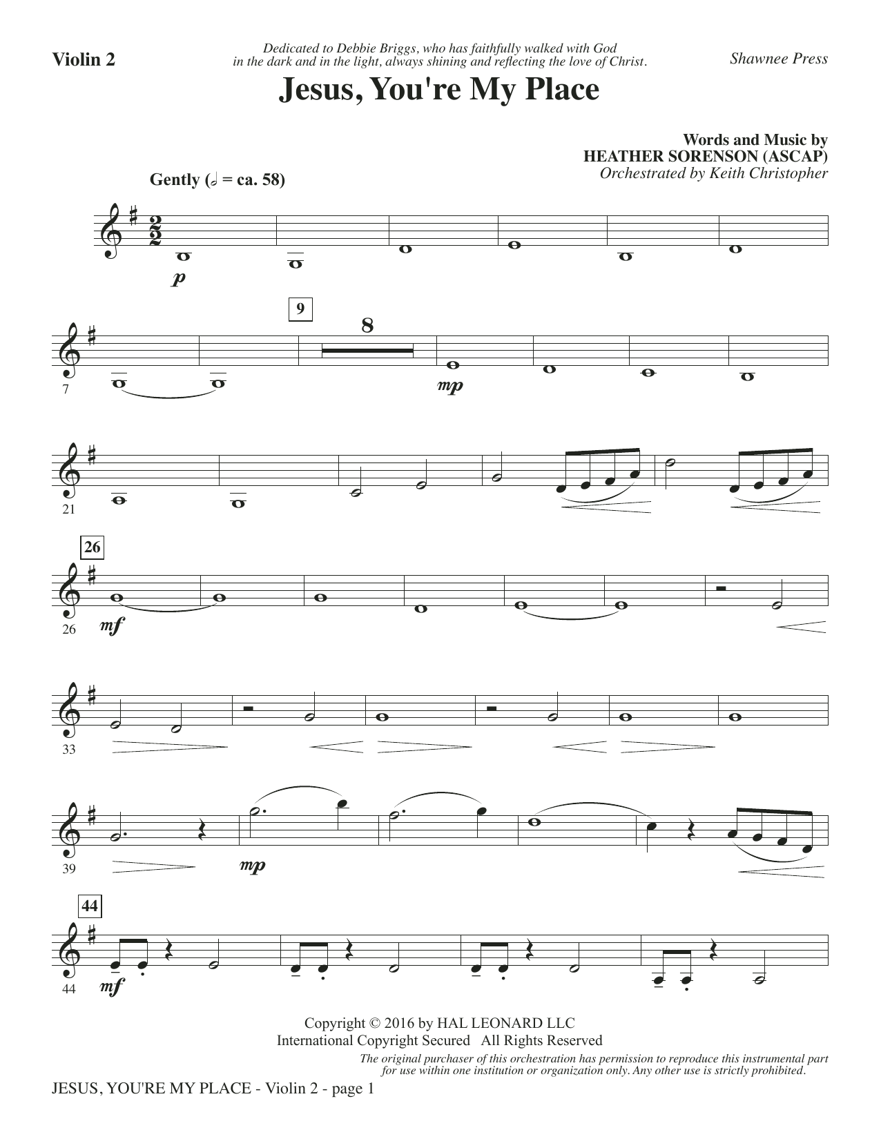 Jesus, You're My Place - Violin 2 Sheet Music