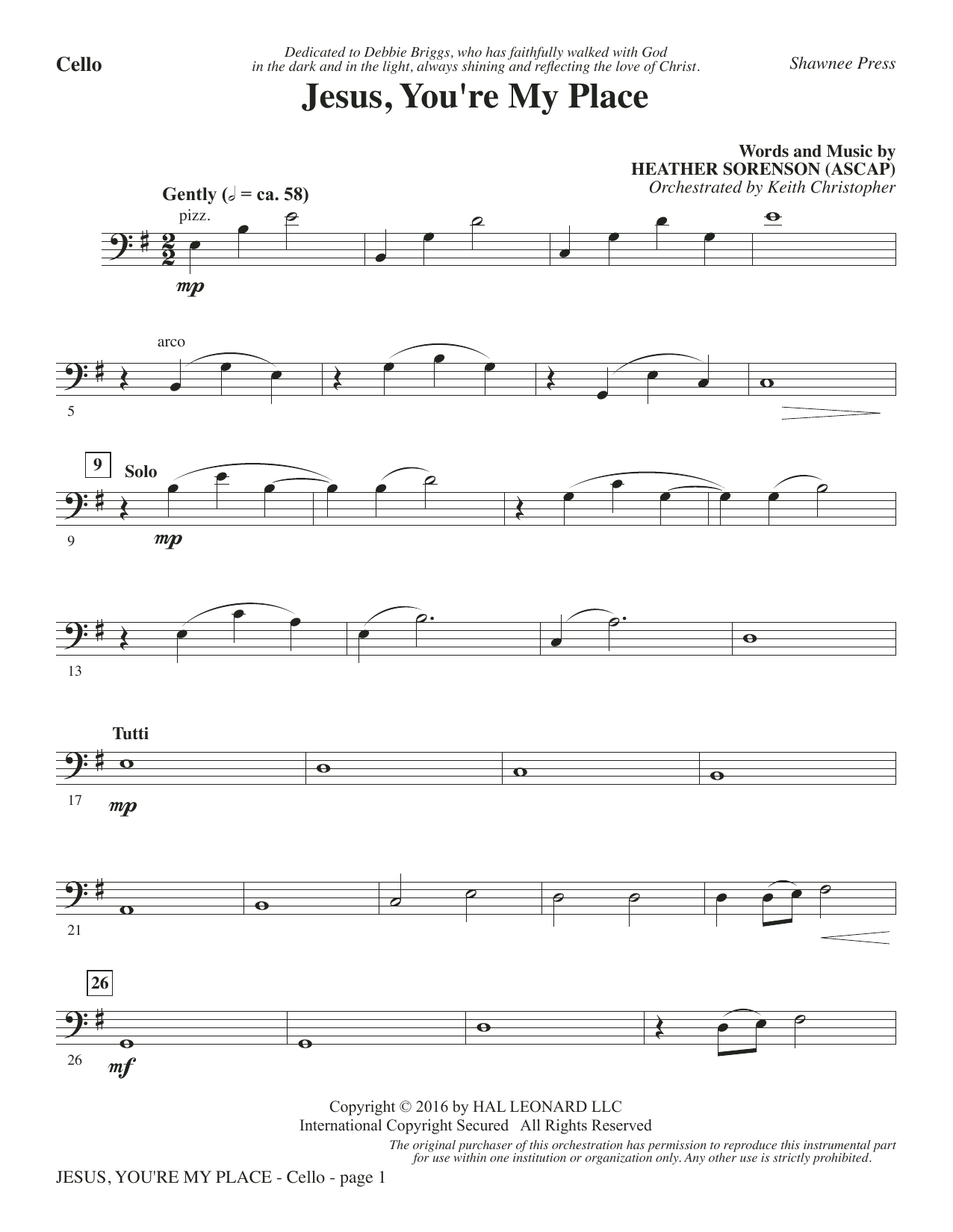 Jesus, You're My Place - Cello Sheet Music