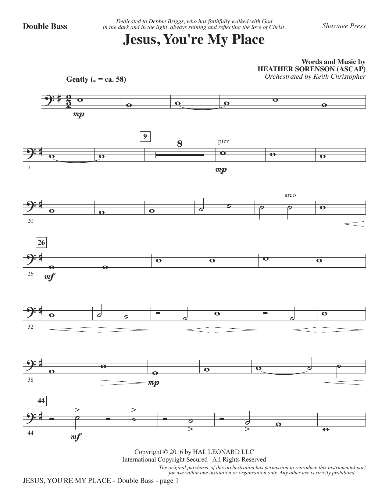 Jesus, You're My Place - Double Bass - Choral Music Download