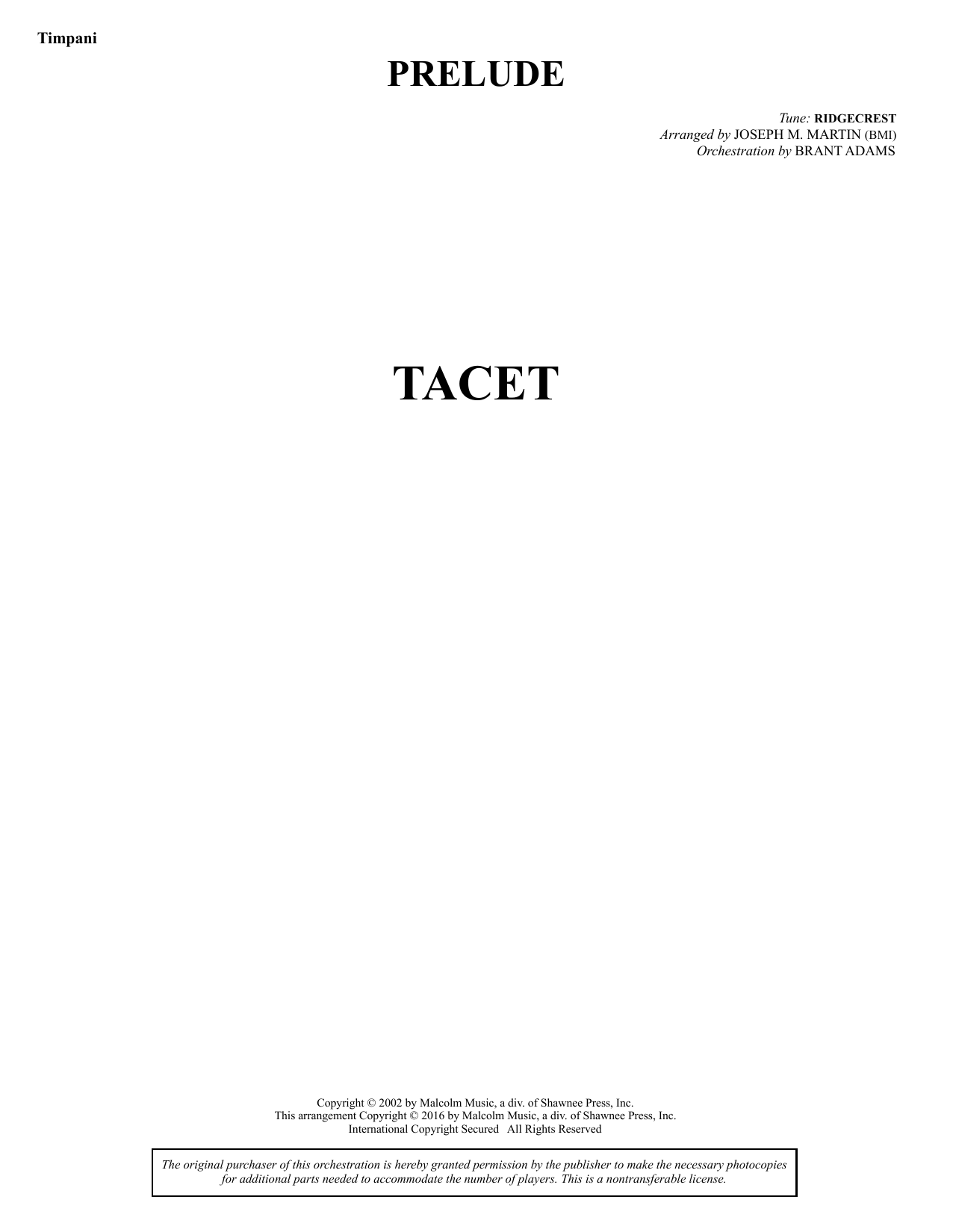 Sacred Places - Timpani Sheet Music