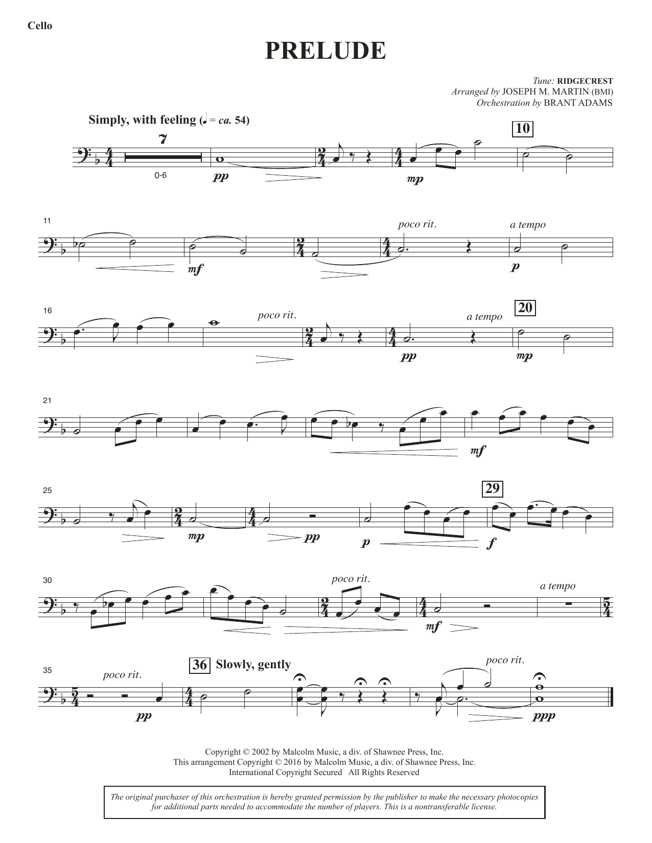 Sacred Places - Cello Sheet Music