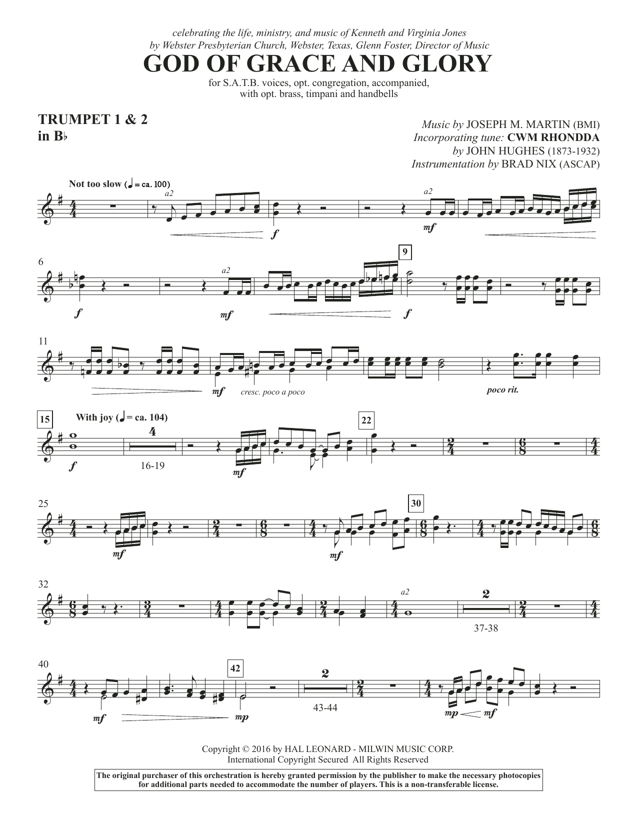 God of Grace and Glory - Bb Trumpet 1,2 Sheet Music