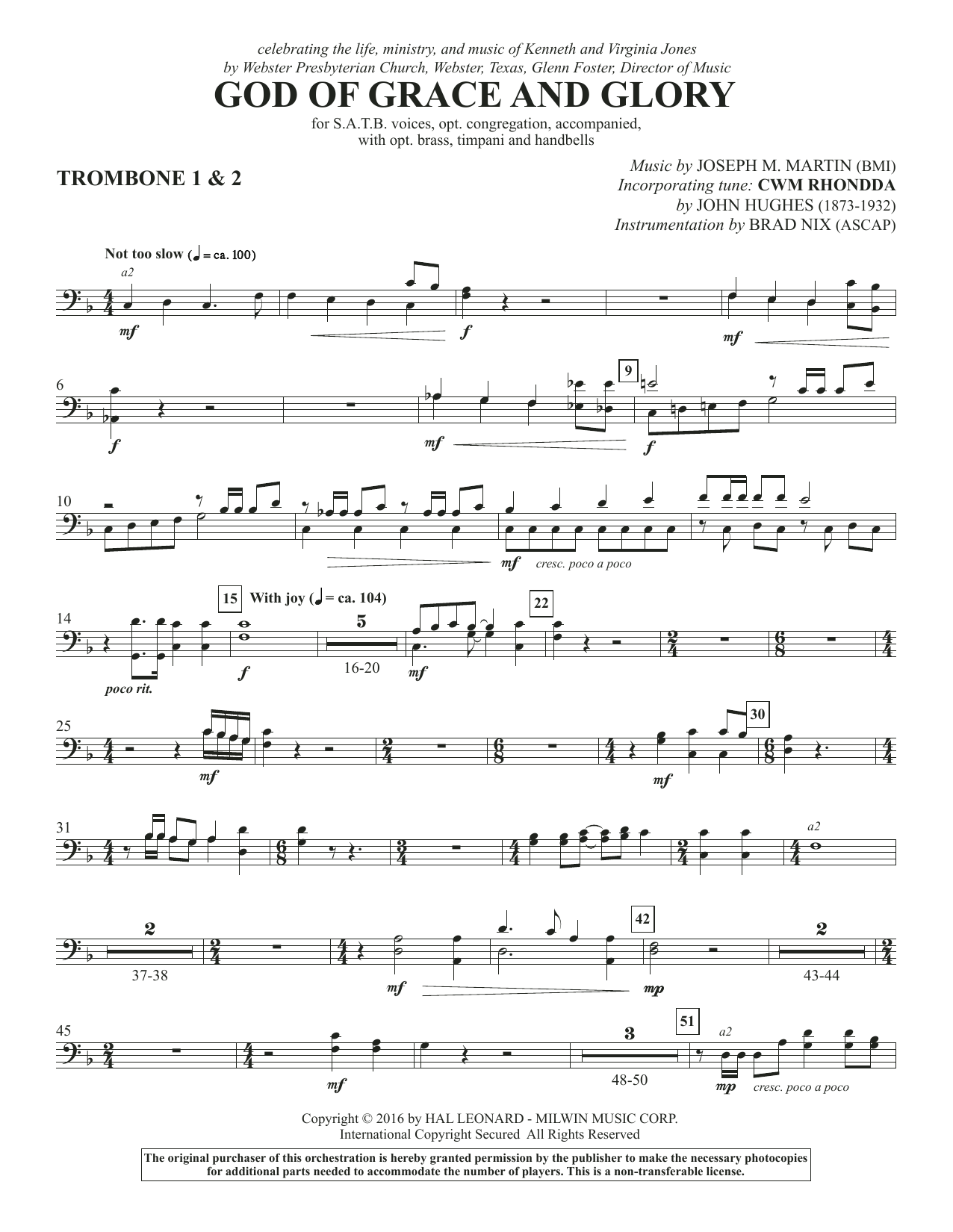 God of Grace and Glory - Trombone 1 & 2 Sheet Music