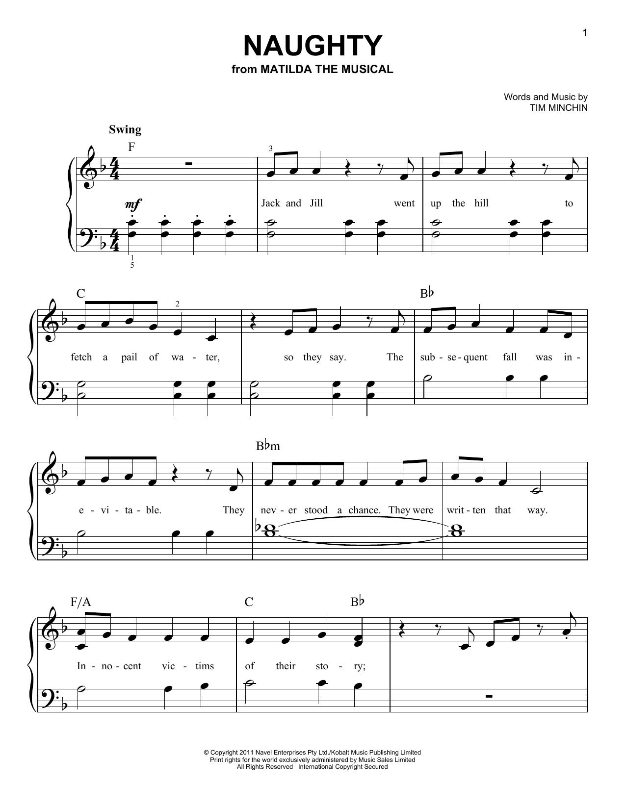 Partition piano Naughty de Tim Minchin - Piano Facile