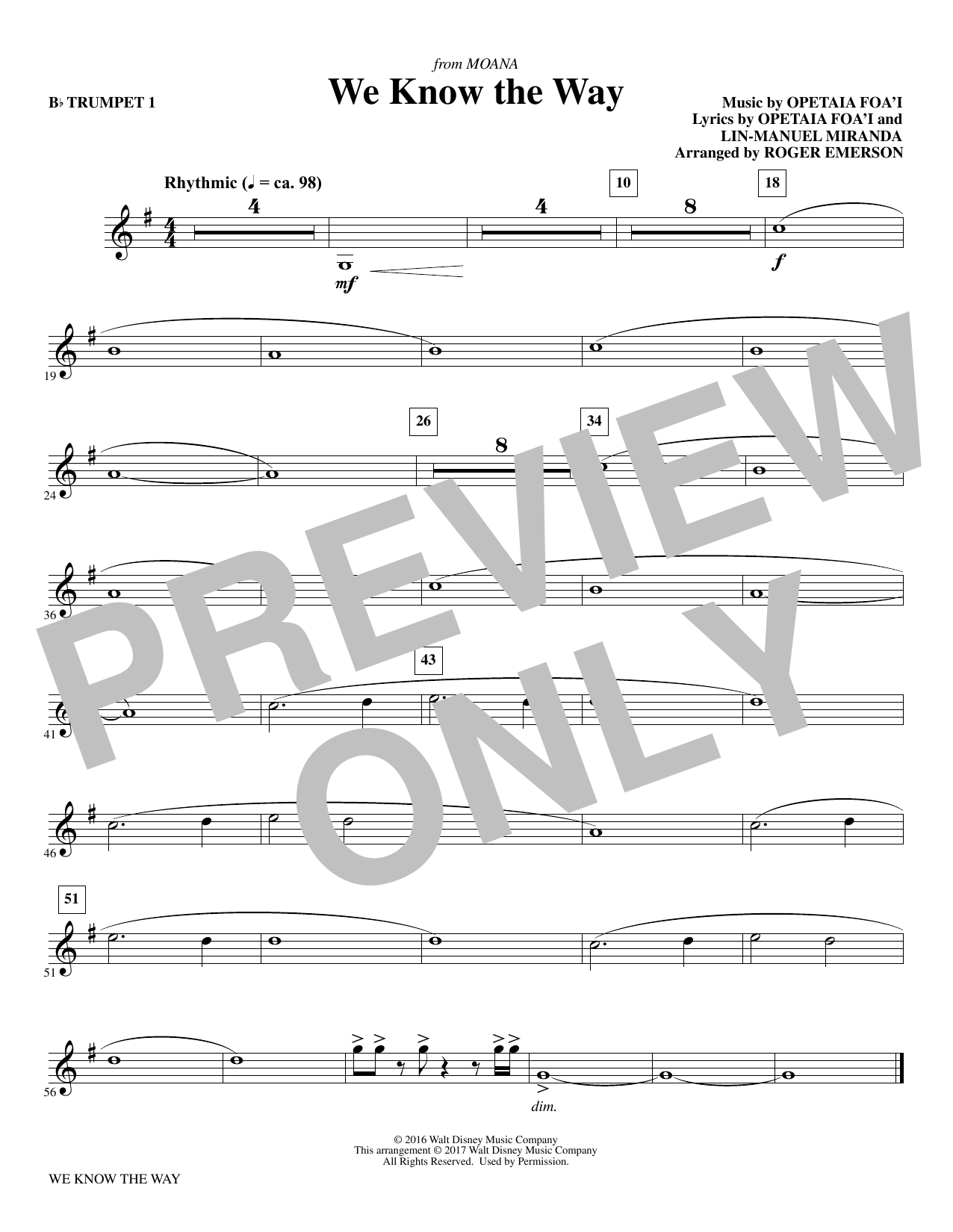 We Know The Way (from Moana) - Bb Trumpet 1 Sheet Music
