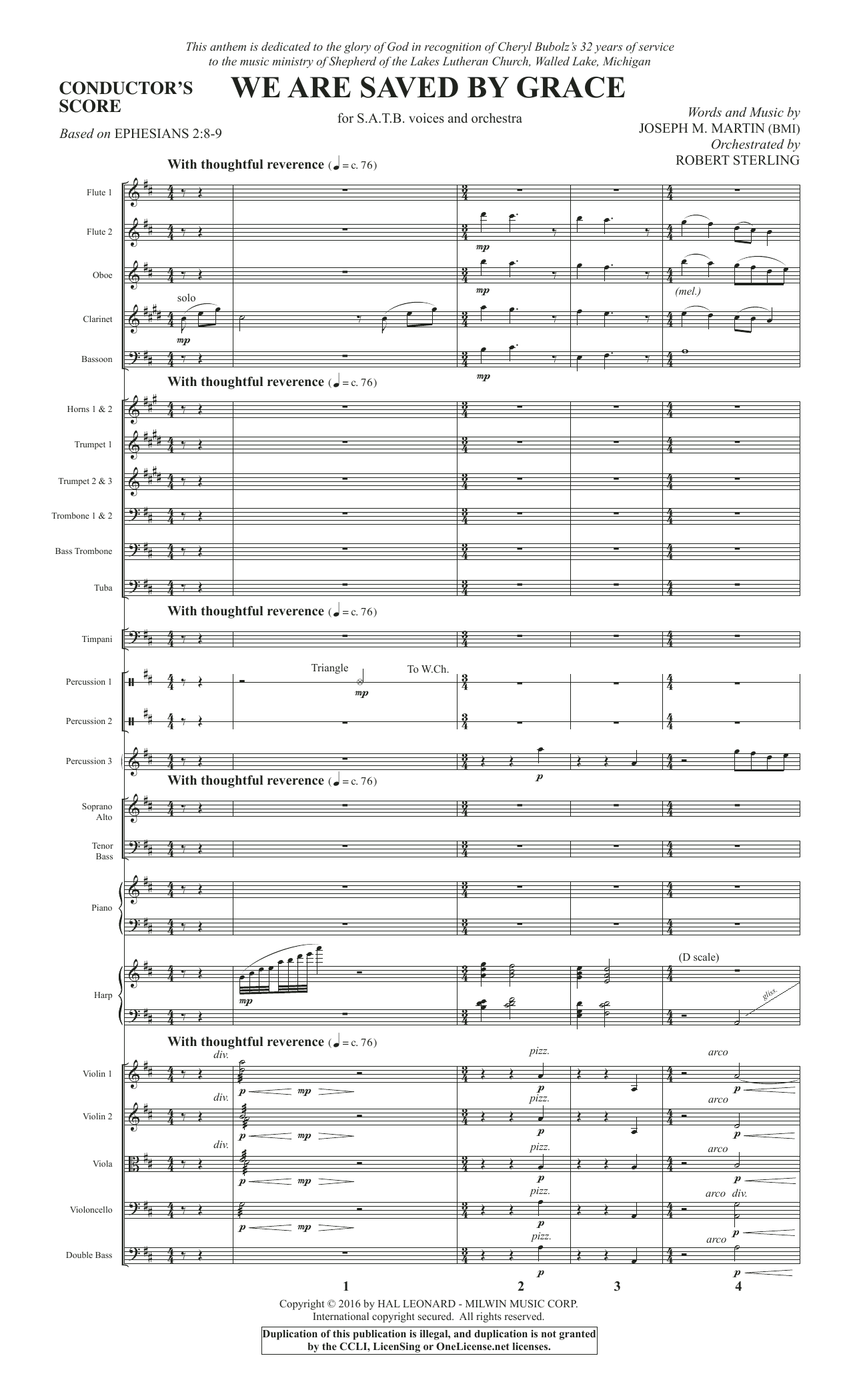 We Are Saved by Grace (COMPLETE) sheet music for orchestra/band by Joseph M. Martin. Score Image Preview.
