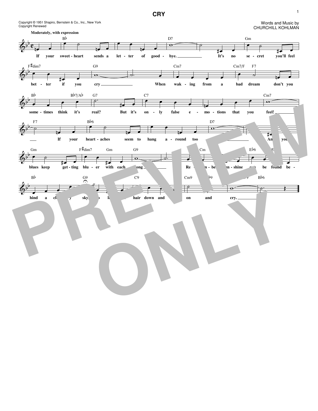 Cry (Lead Sheet / Fake Book)