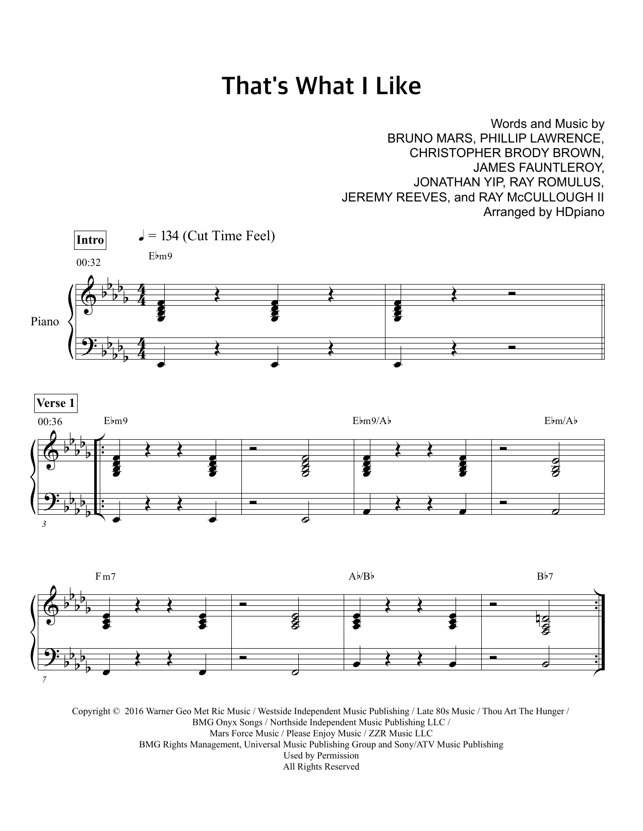 Thats what i like sheet music direct thats what i like 499 artist bruno mars hexwebz Image collections