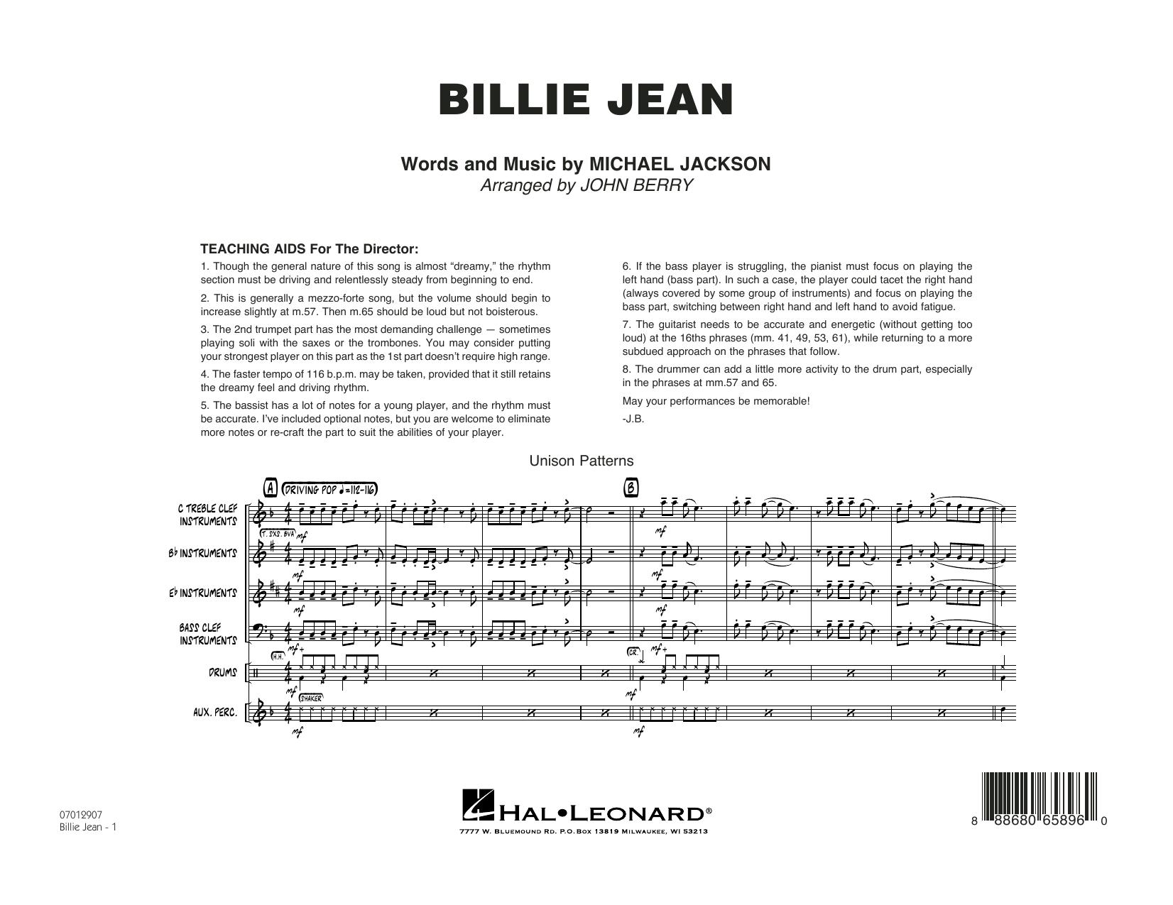 Billie Jean - Conductor Score (Full Score) (Jazz Ensemble)
