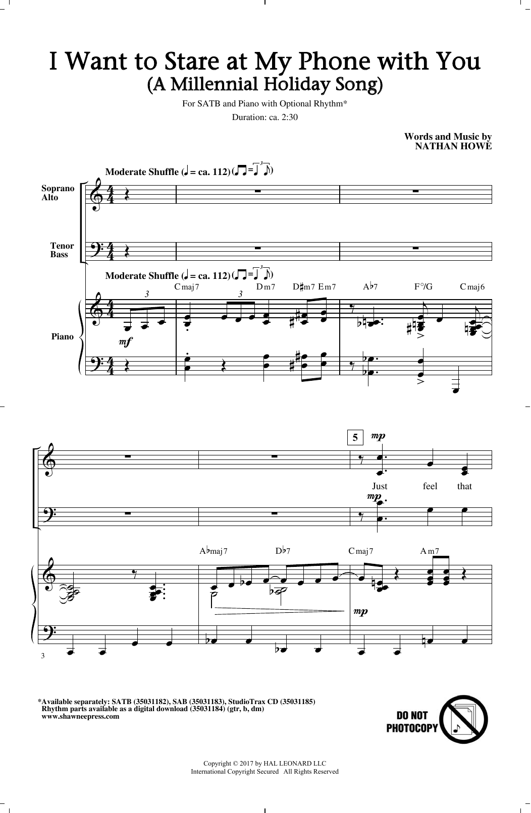 I Want To Stare At My Phone With You (A Millennial Holiday Song) Sheet Music