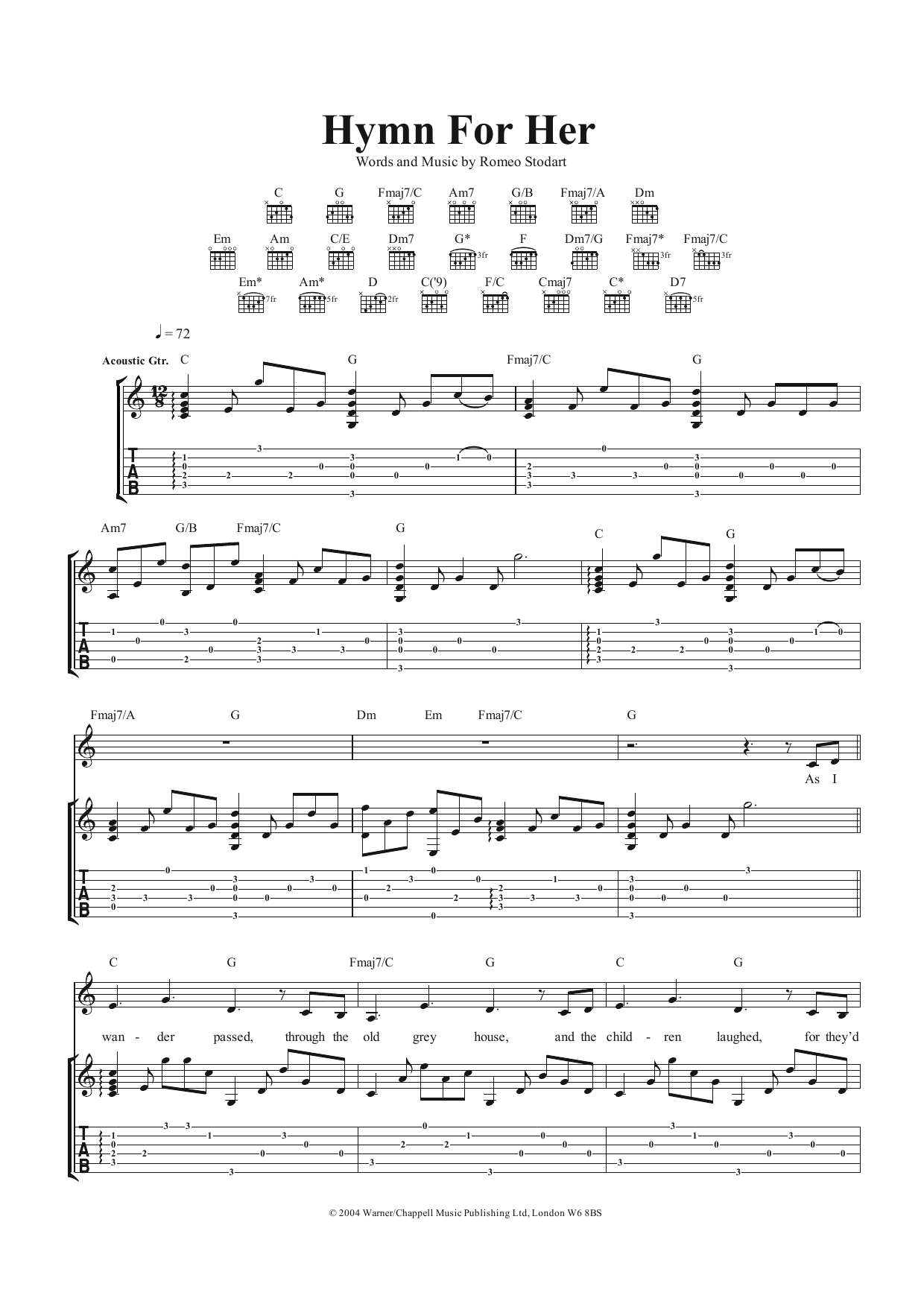 Hymn For Her (Guitar Tab)
