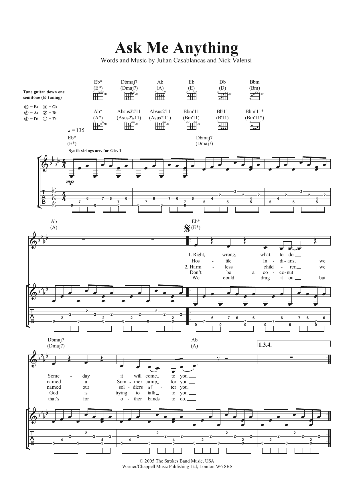 Ask Me Anything Sheet Music | The Strokes | Guitar Tab