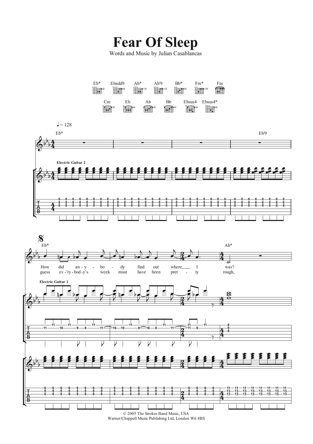 Fear Of Sleep (Guitar Tab)