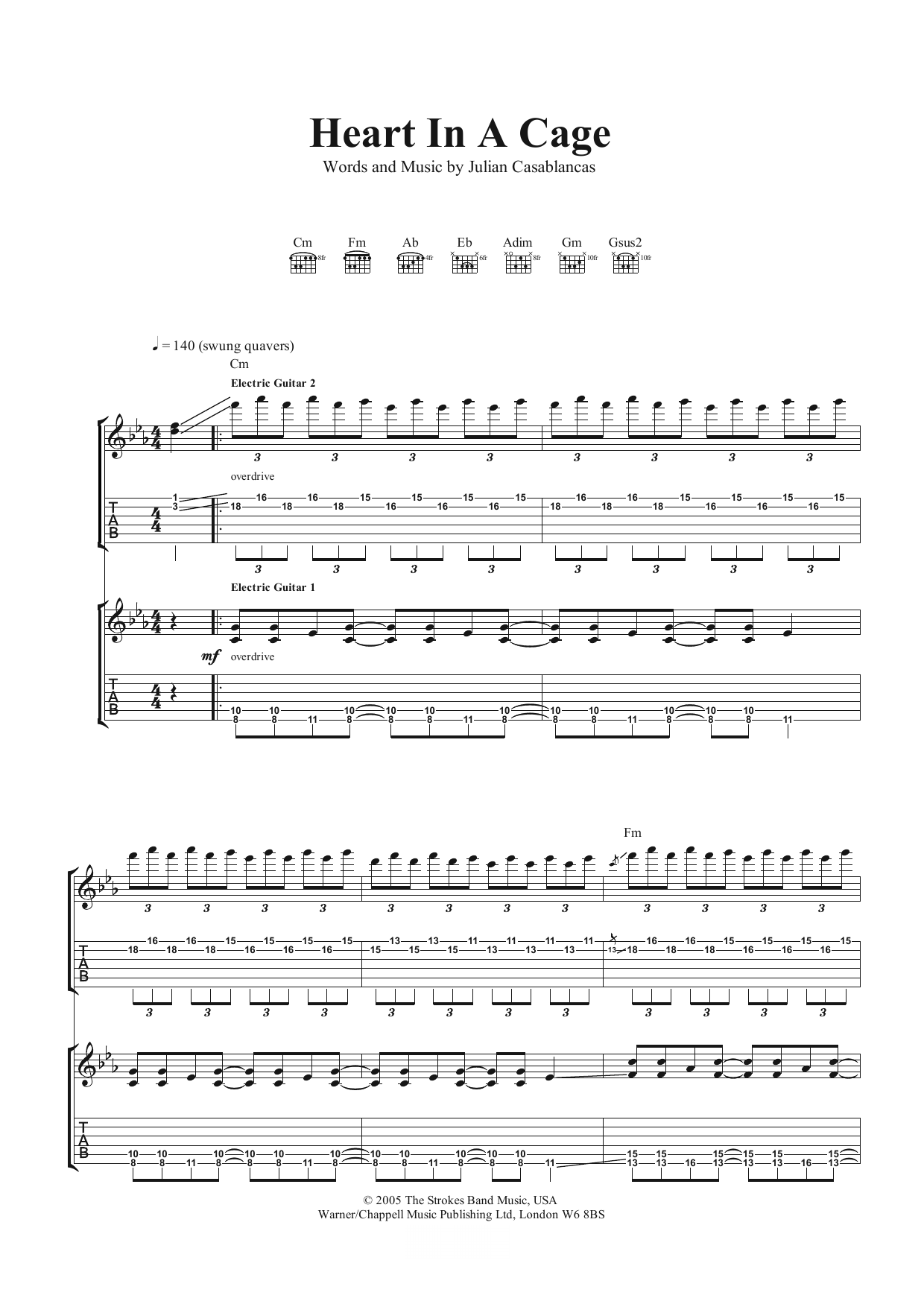 Heart In A Cage Sheet Music