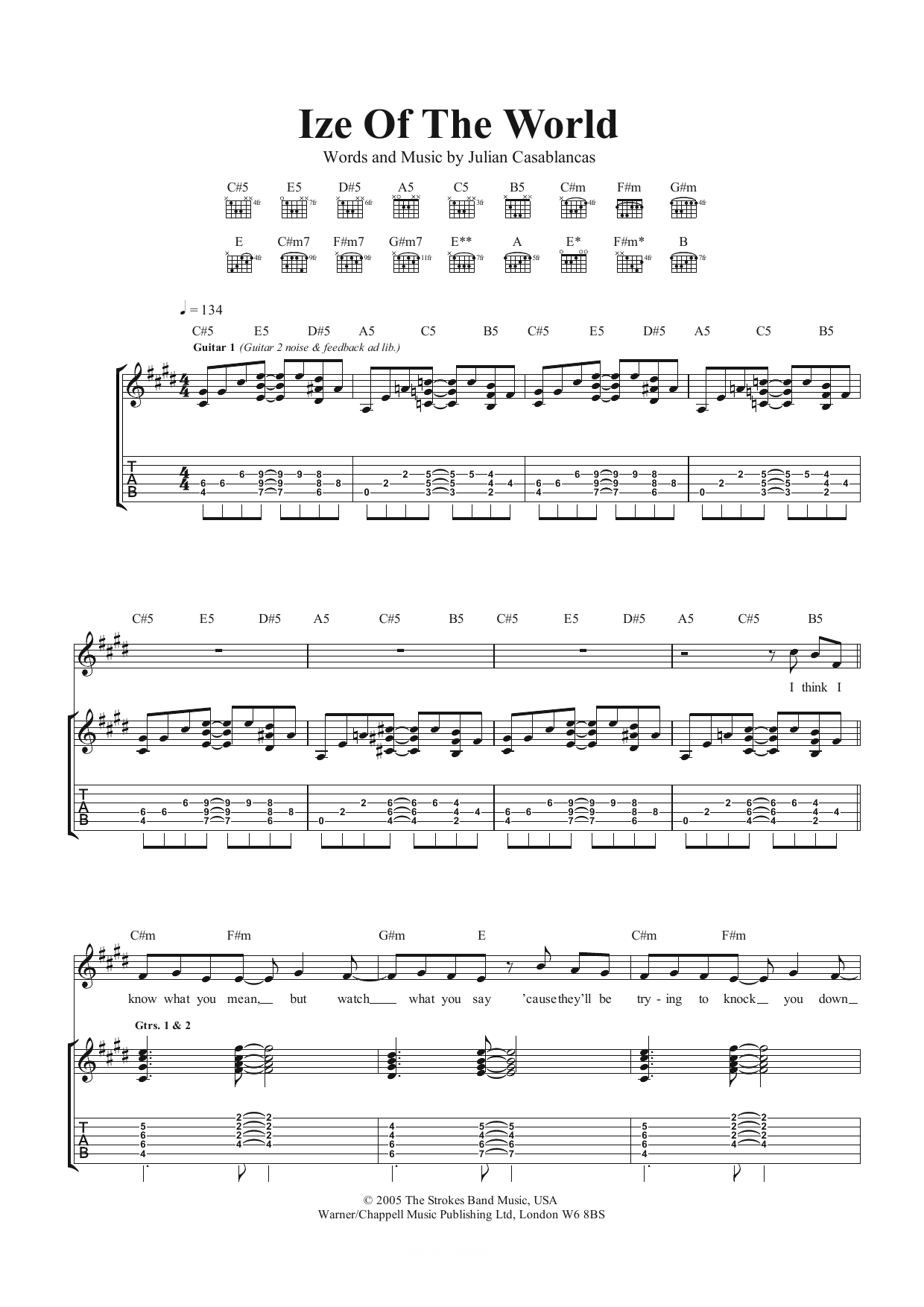 Ize Of The World Sheet Music | The Strokes | Guitar Tab