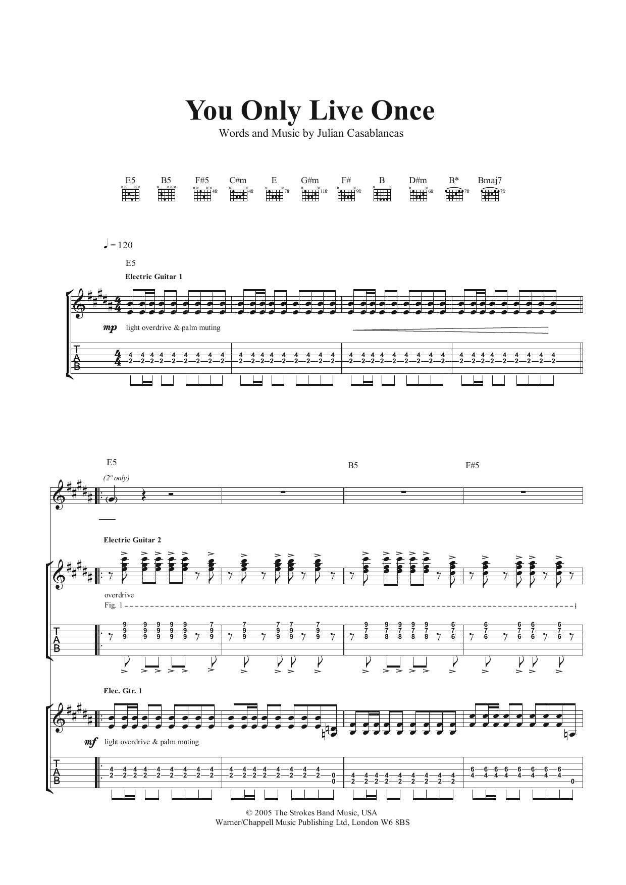 You Only Live Once (Guitar Tab)